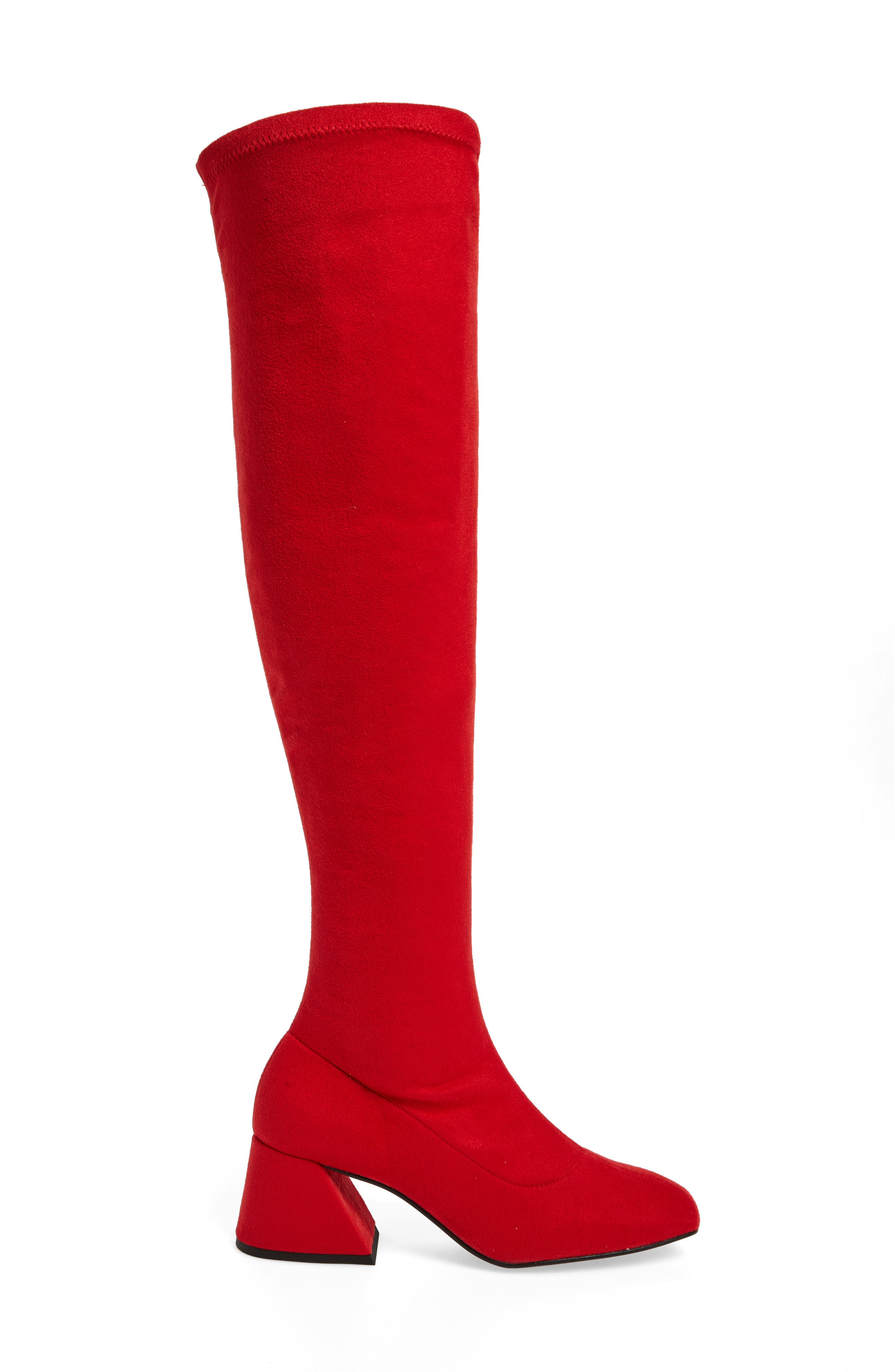 Cappuccino Over the Knee Boot,                             Alternate thumbnail 3, color,                             Red