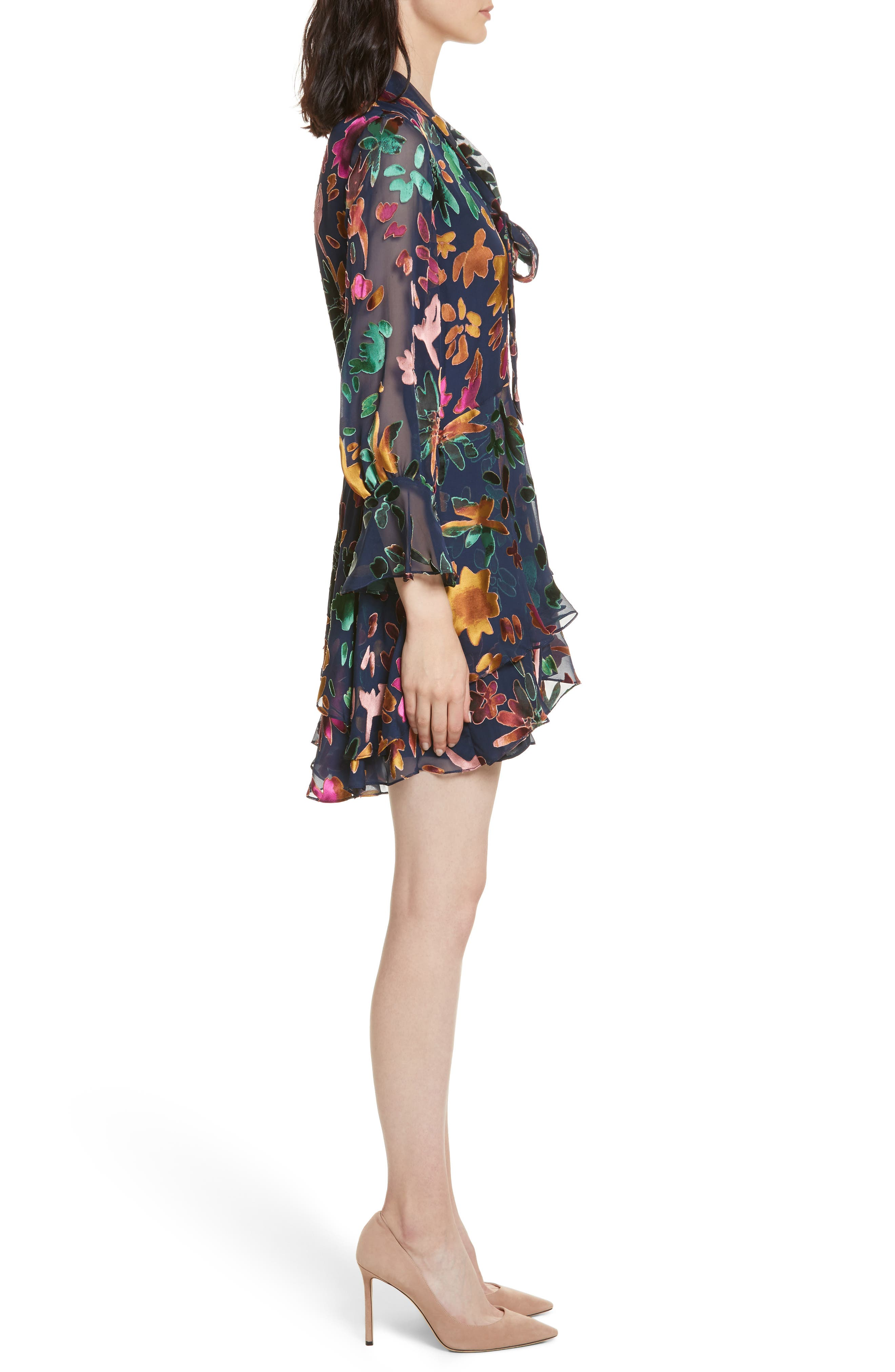 Moore Layered Skirt Tunic Dress,                             Alternate thumbnail 3, color,                             Prisma Floral Sapphire