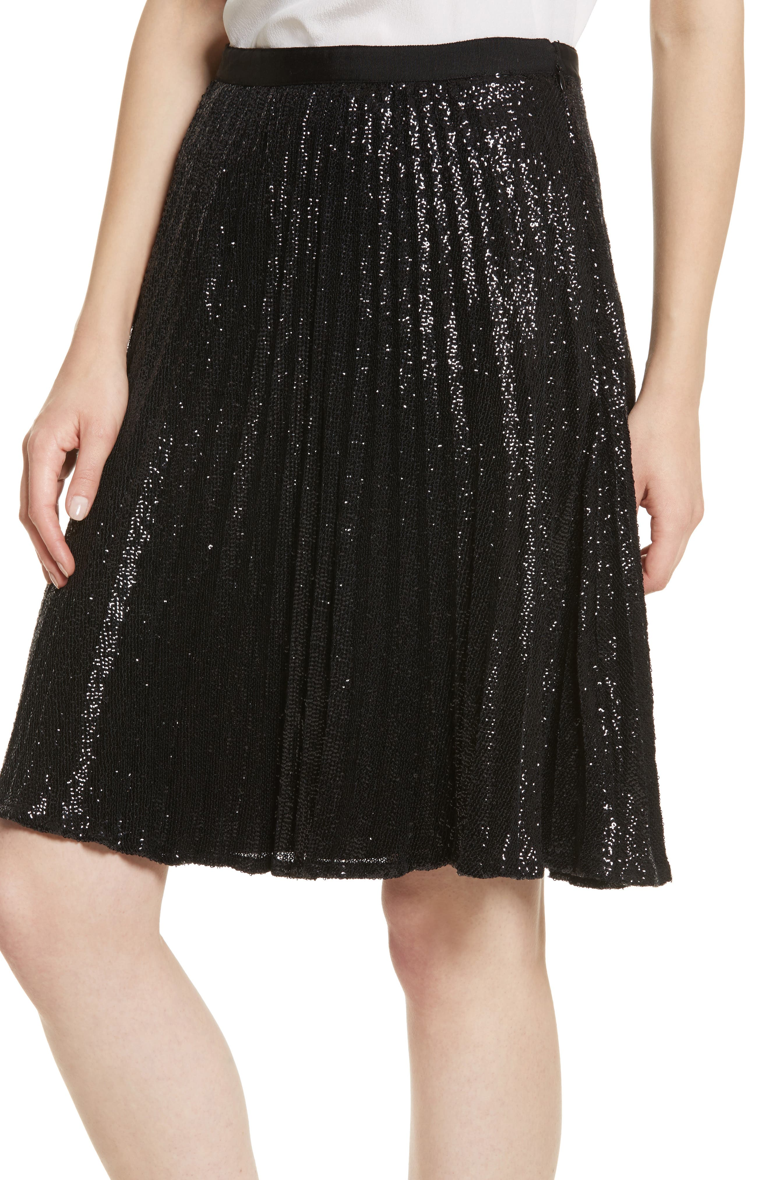Jadian Metallic Pleat Skirt,                             Alternate thumbnail 4, color,                             Caviar