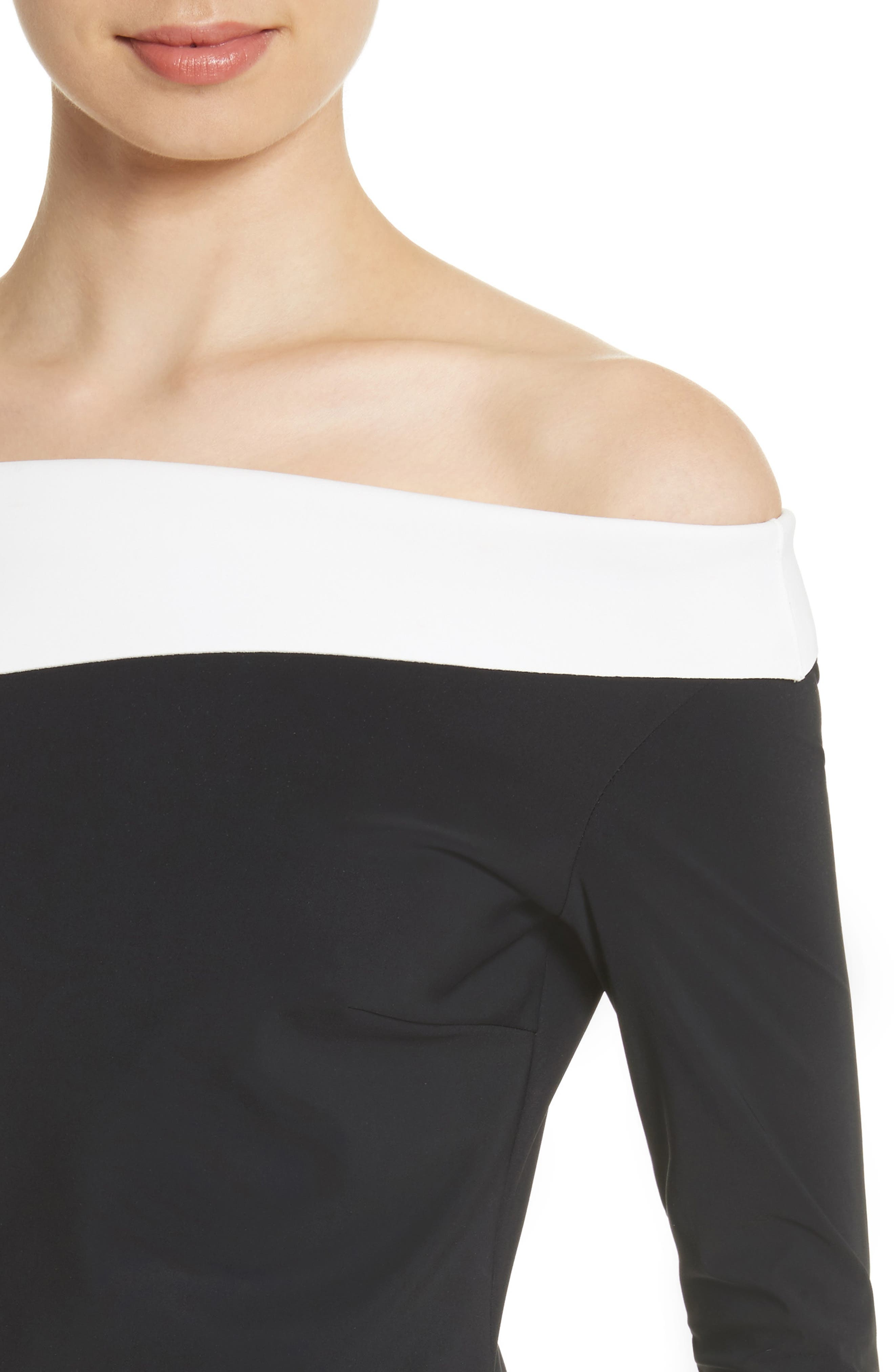 Tae Bicolor Off the Shoulder Gown,                             Alternate thumbnail 4, color,                             Black/ White