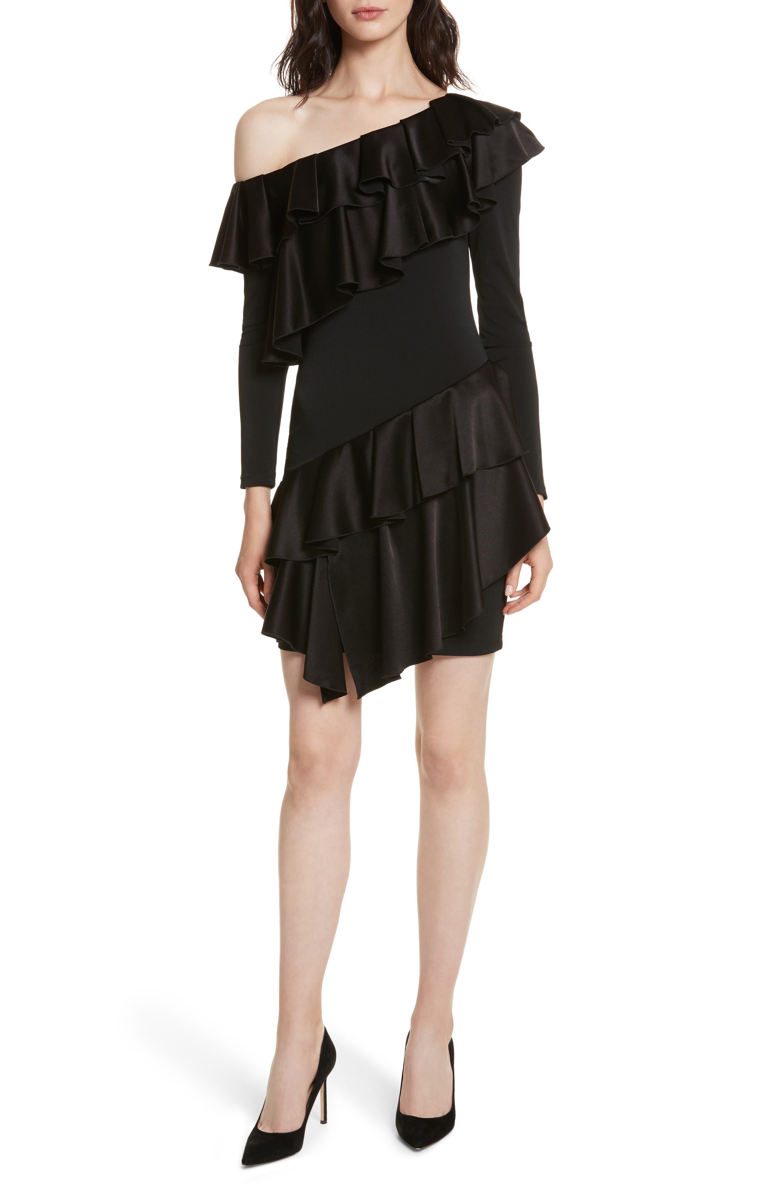 Izzy One-Shoulder Ruffle Dress,                             Main thumbnail 1, color,                             Black