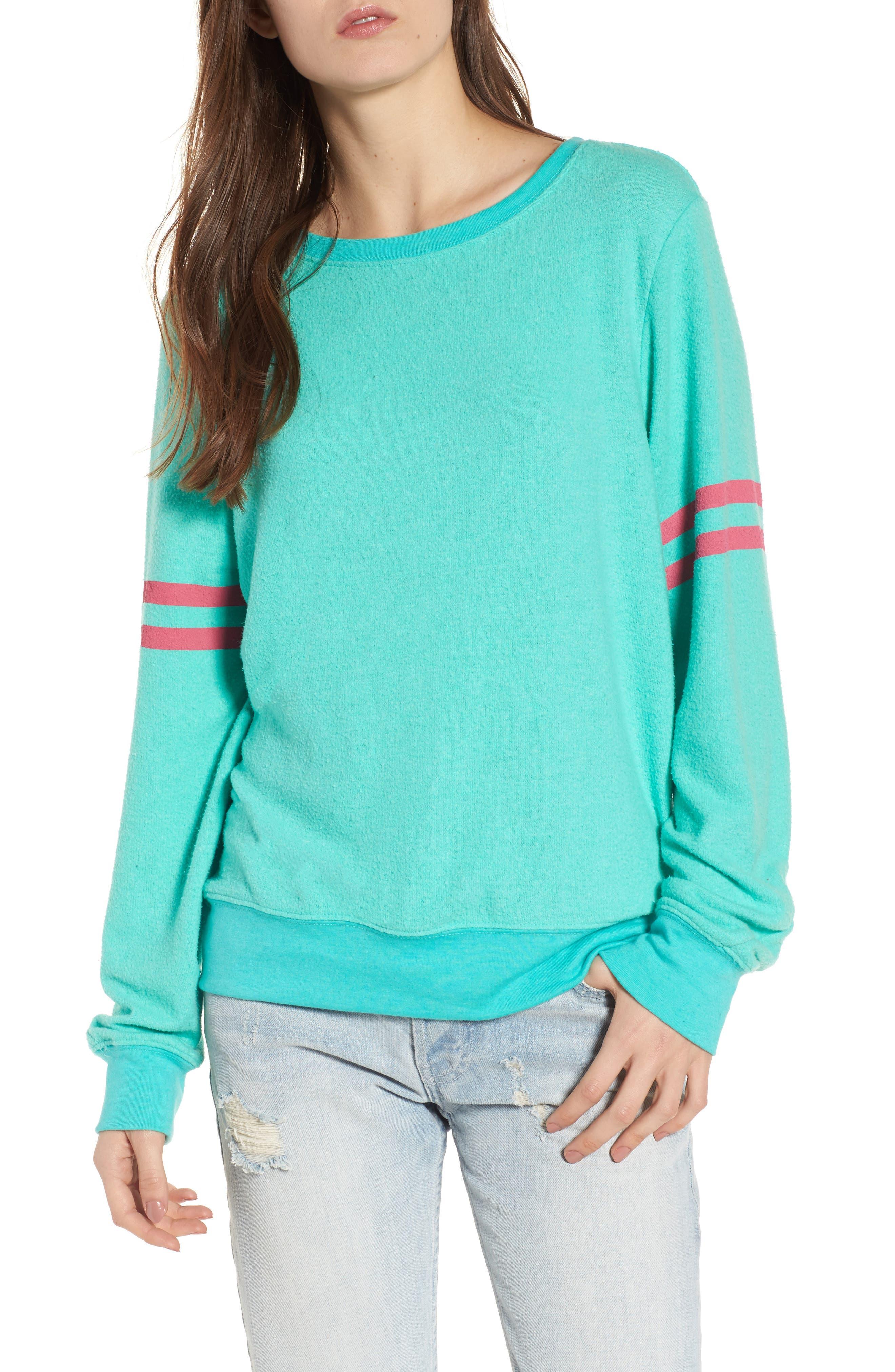 Stripe Sweatshirt,                         Main,                         color, Mint Chip