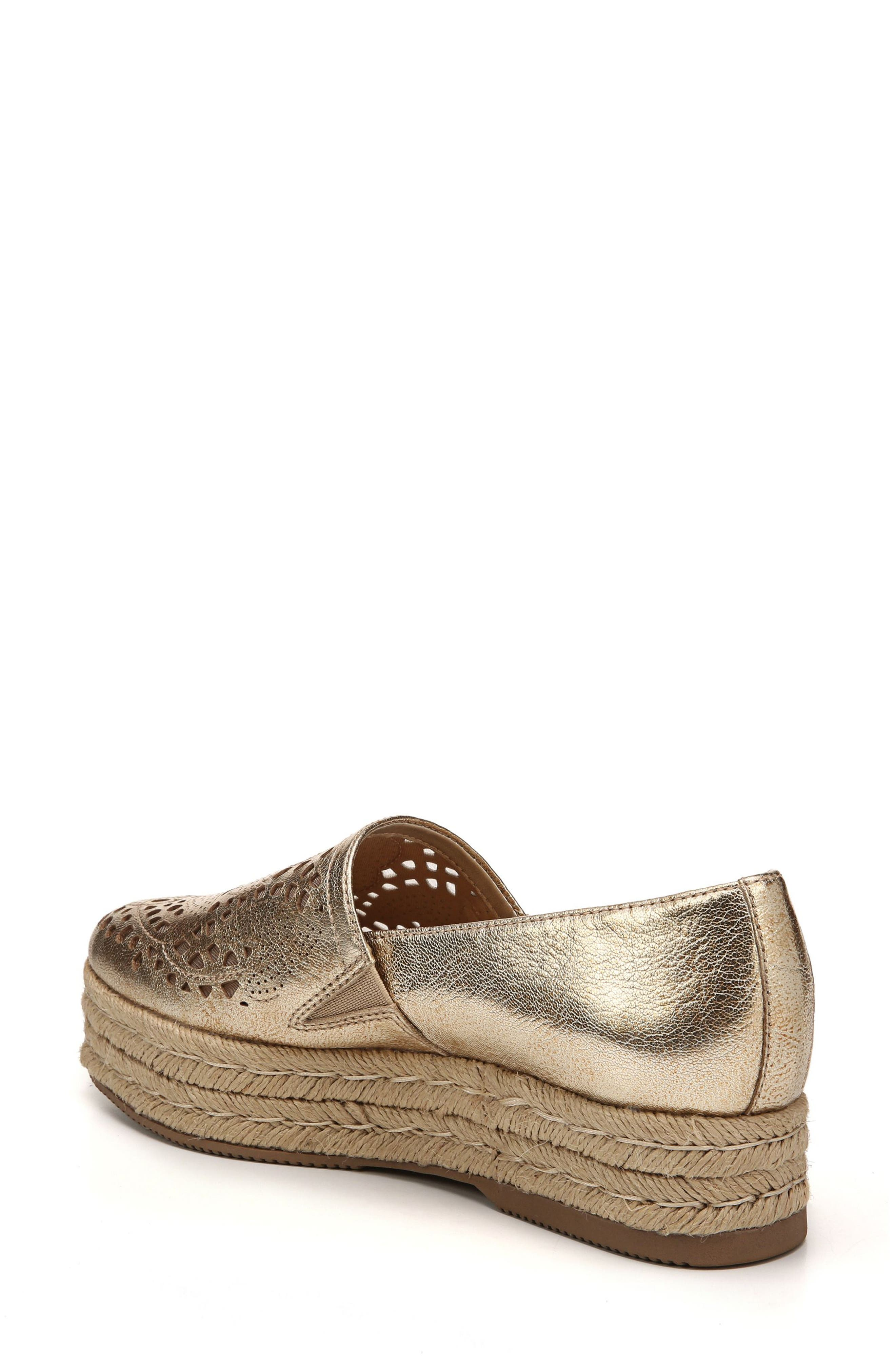 Thea Perforated Platform Espadrille,                             Alternate thumbnail 2, color,                             Platino Leather