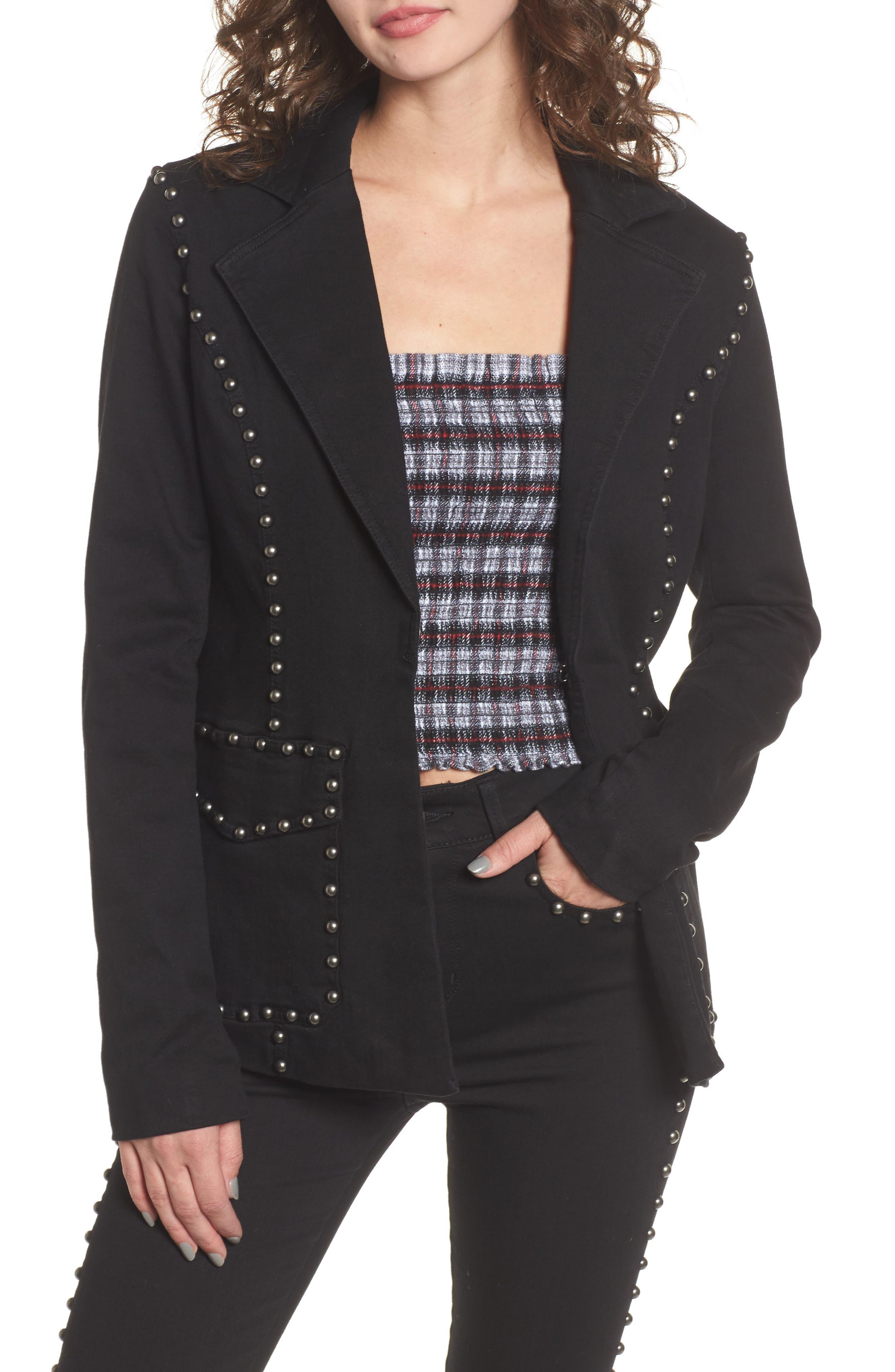 Studded Blazer,                         Main,                         color, Noir