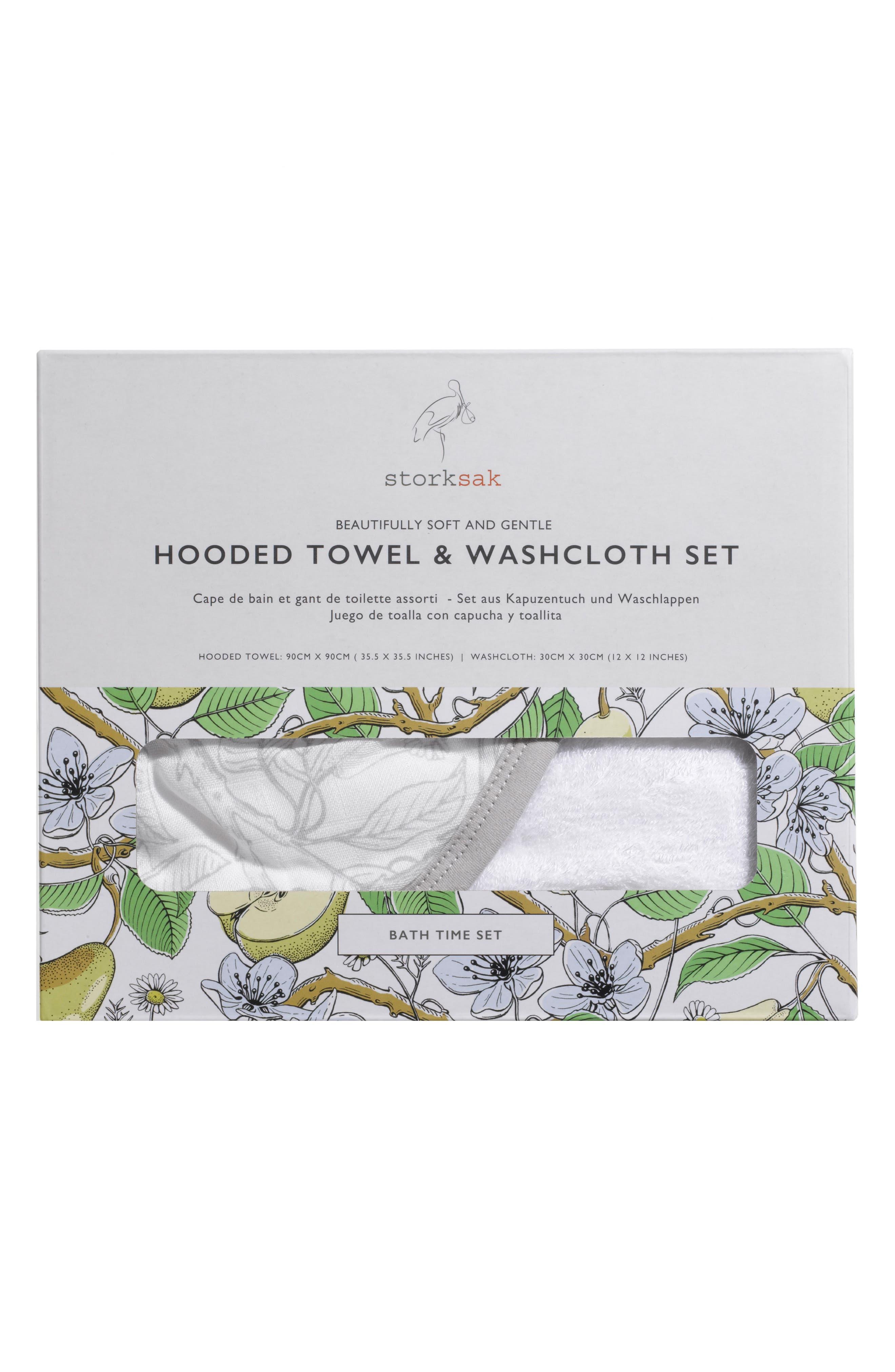 Hooded Towel & Washcloth Set,                             Alternate thumbnail 6, color,                             Garden Print