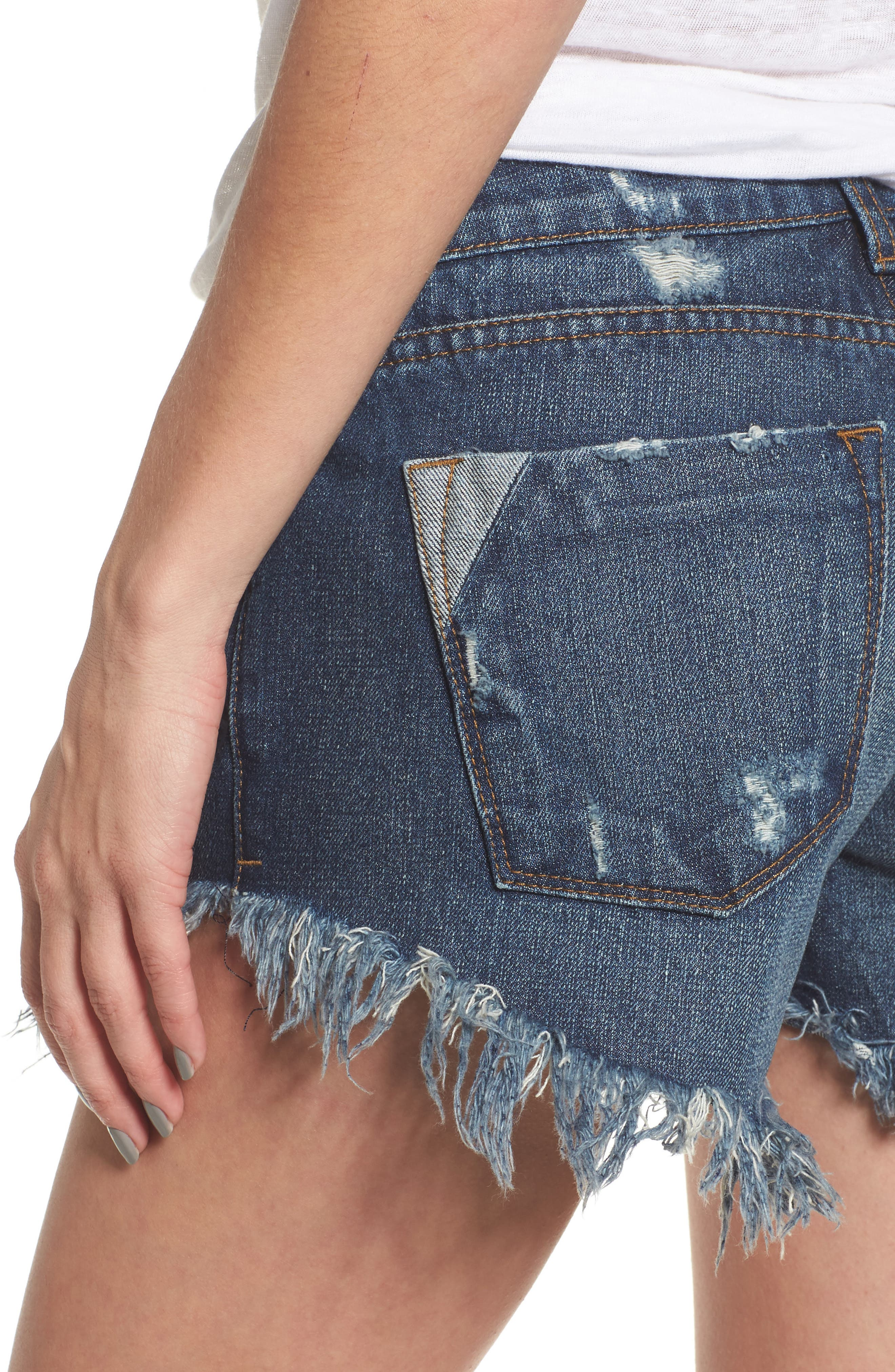 Extreme Fray Hem Jean Shorts,                             Alternate thumbnail 4, color,                             Mandeville