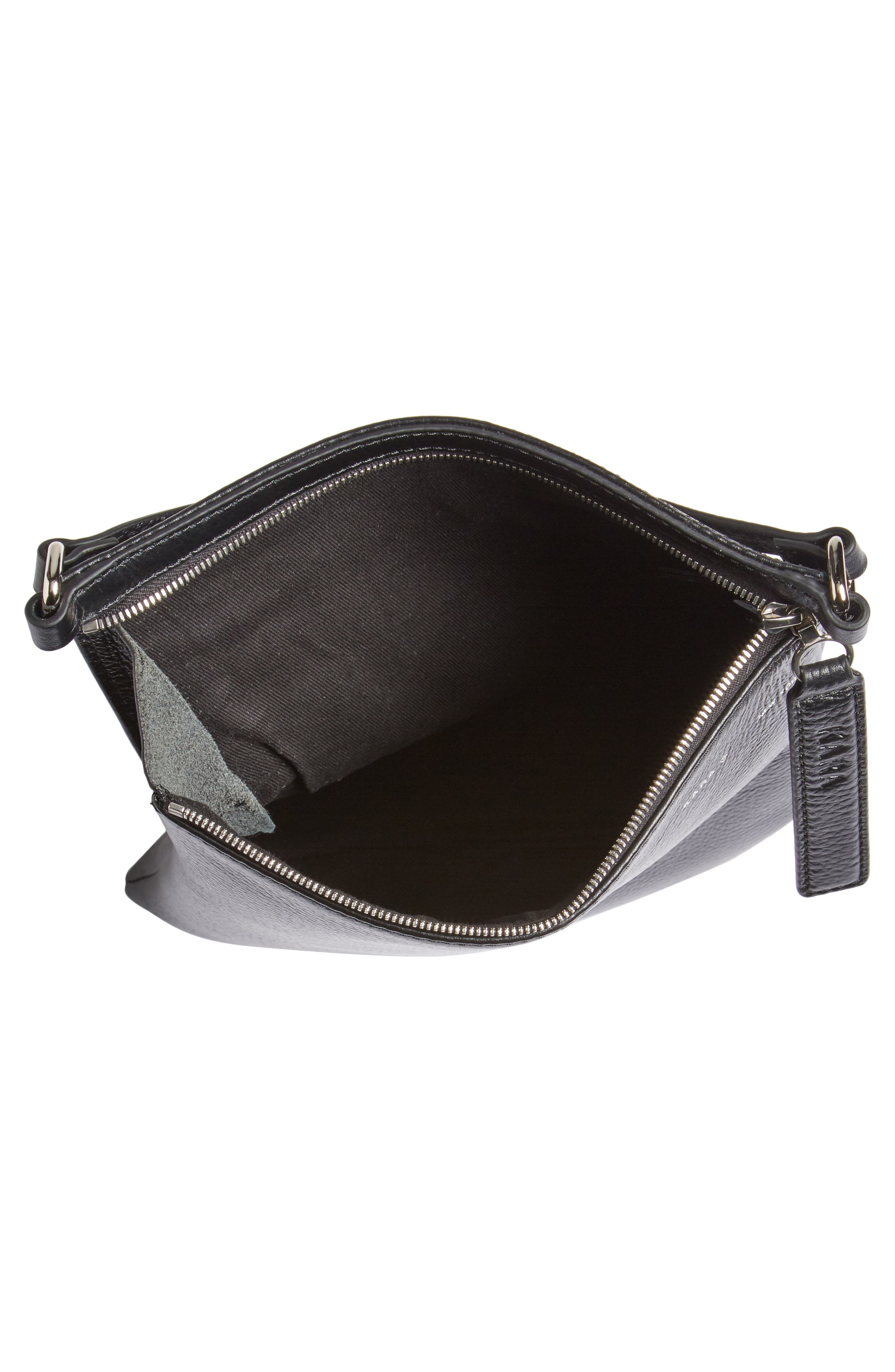 Pebbled Leather Belt Bag,                             Alternate thumbnail 8, color,                             Black