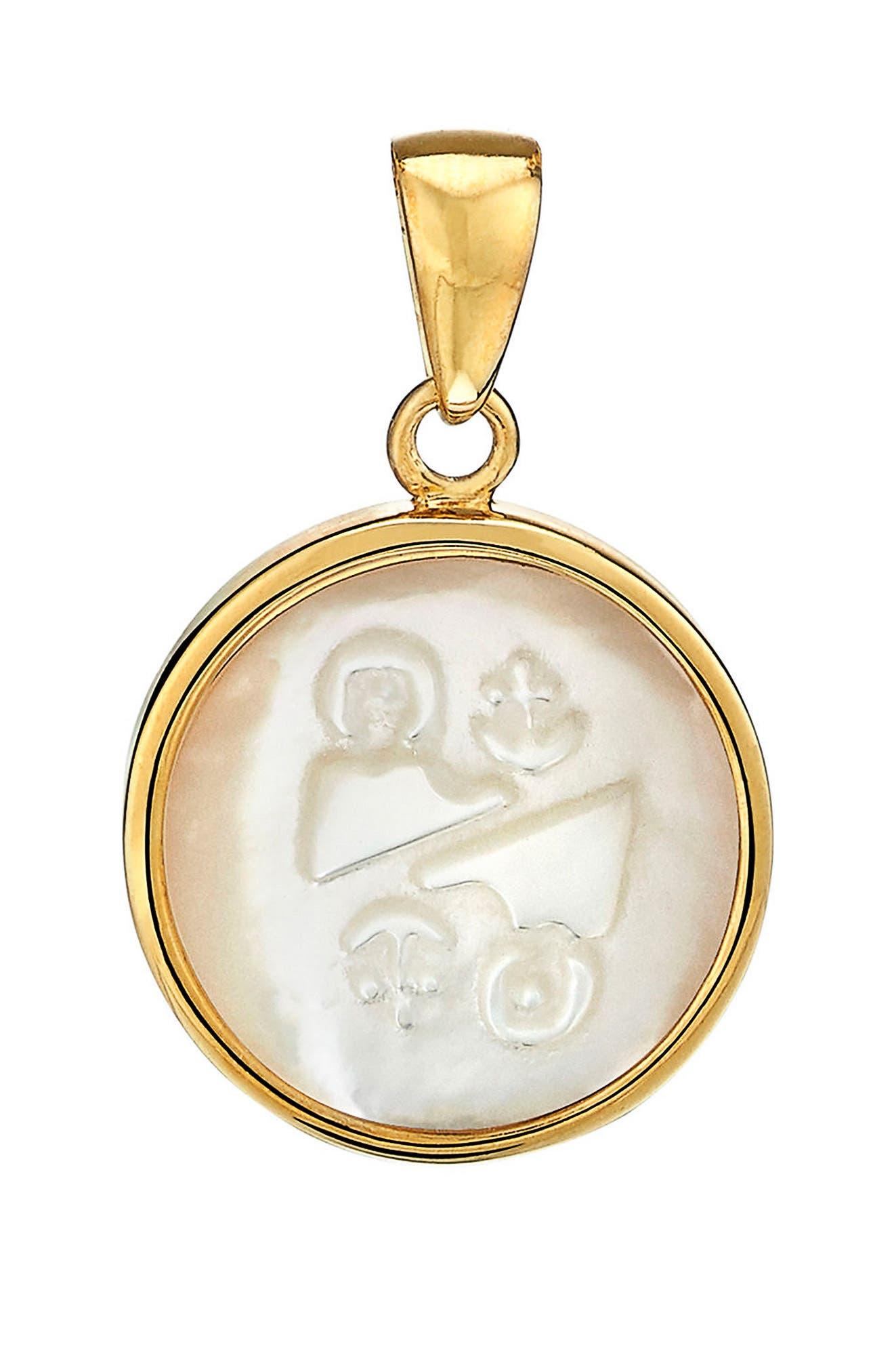 Zodiac Mother-of-Pearl Charm,                         Main,                         color, Gemini