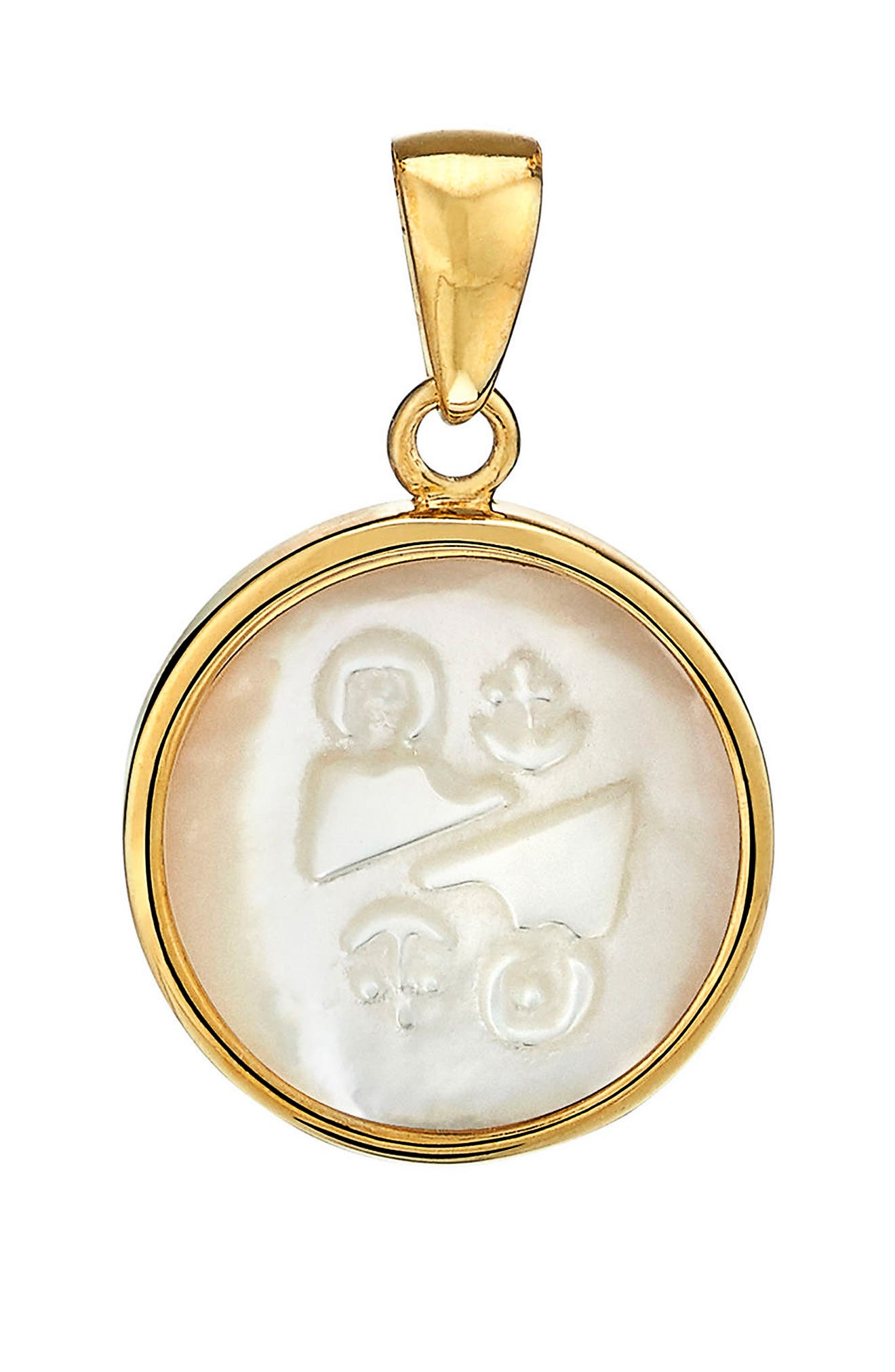 Zodiac Mother-of-Pearl Charm,                         Main,                         color, Gemini