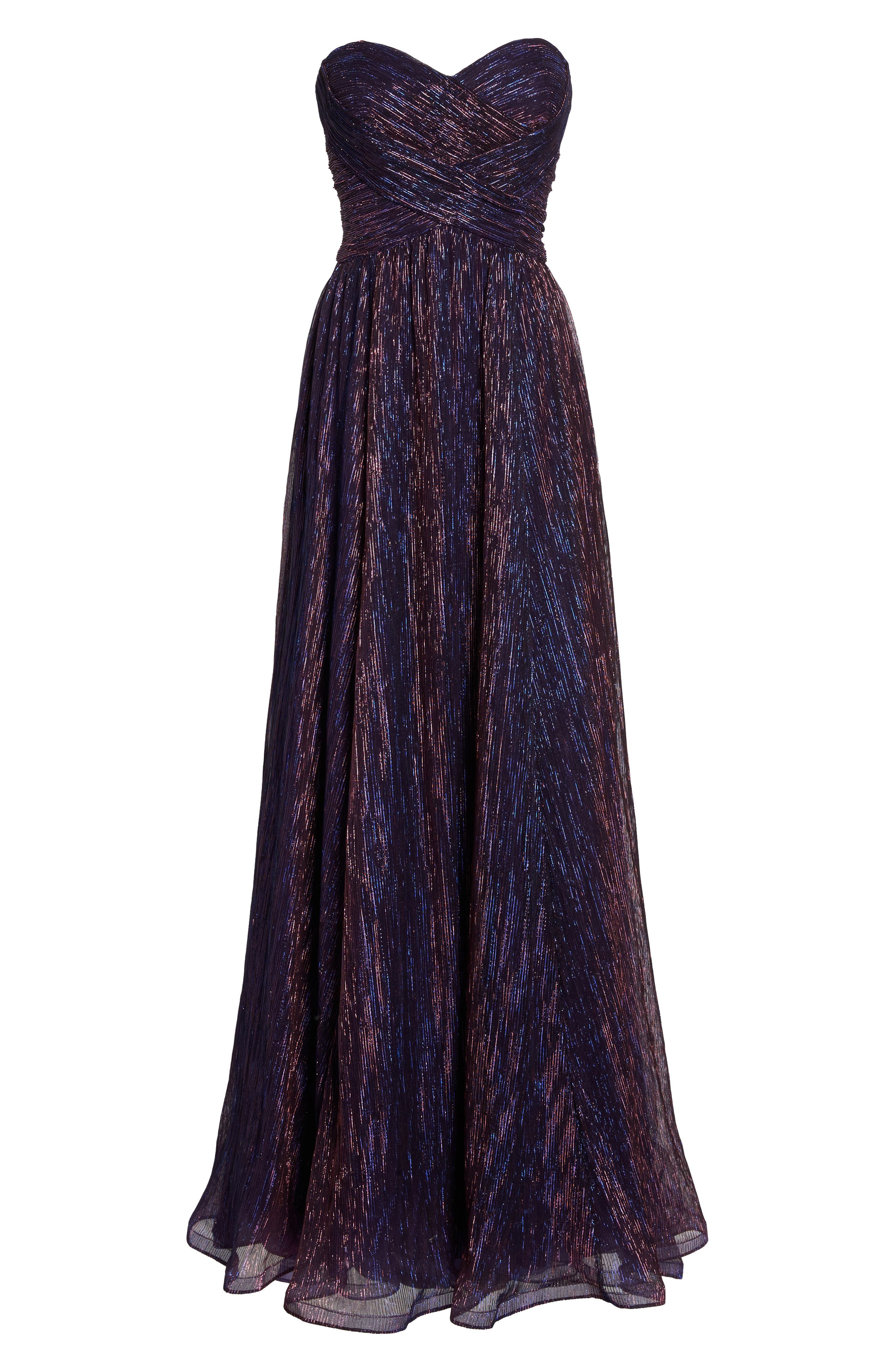 Metallic Strapless A-Line Gown,                             Alternate thumbnail 7, color,                             Purple/ Multi
