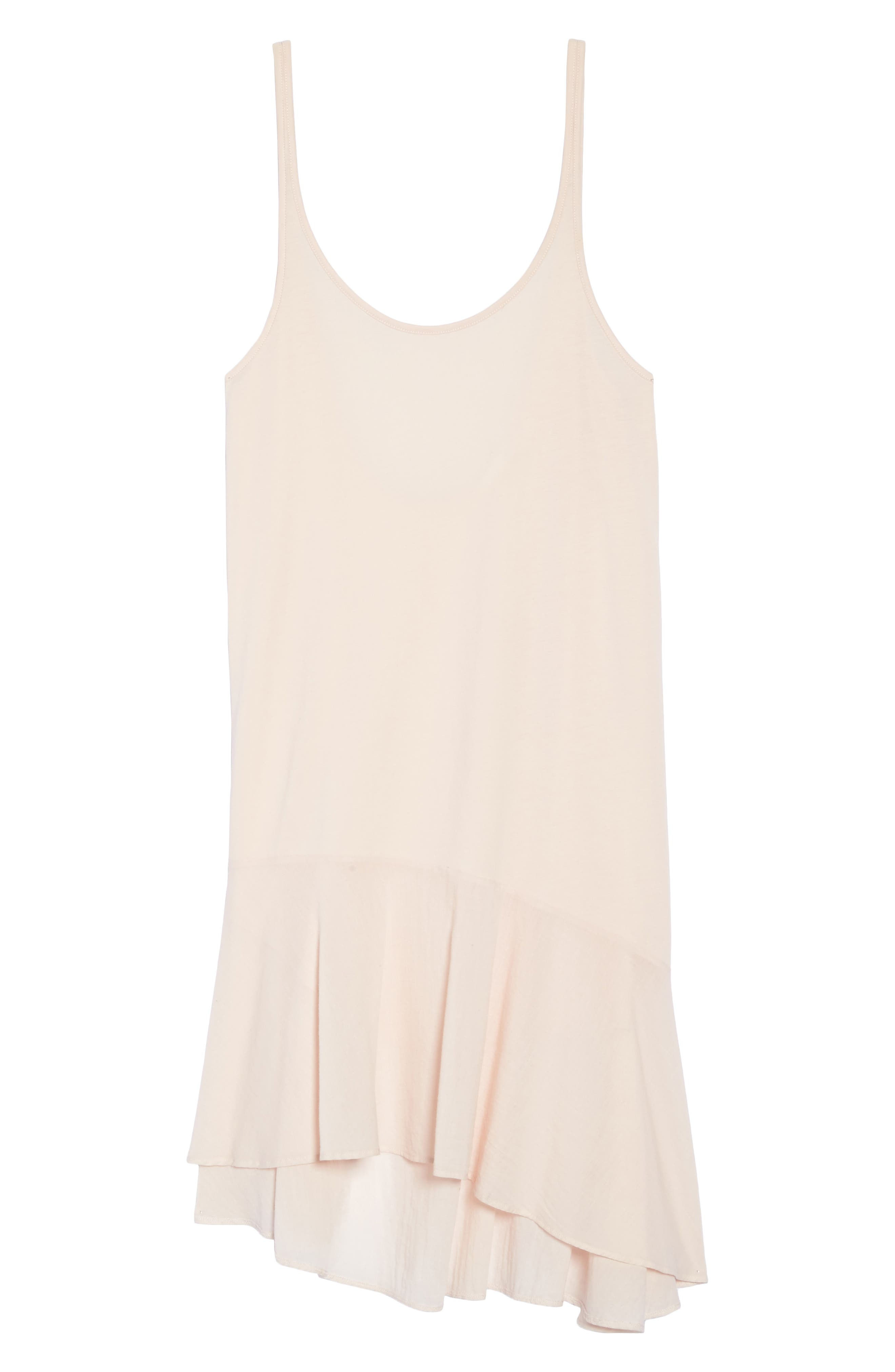Pima Cotton High/Low Nightgown,                             Alternate thumbnail 6, color,                             Powder Pink