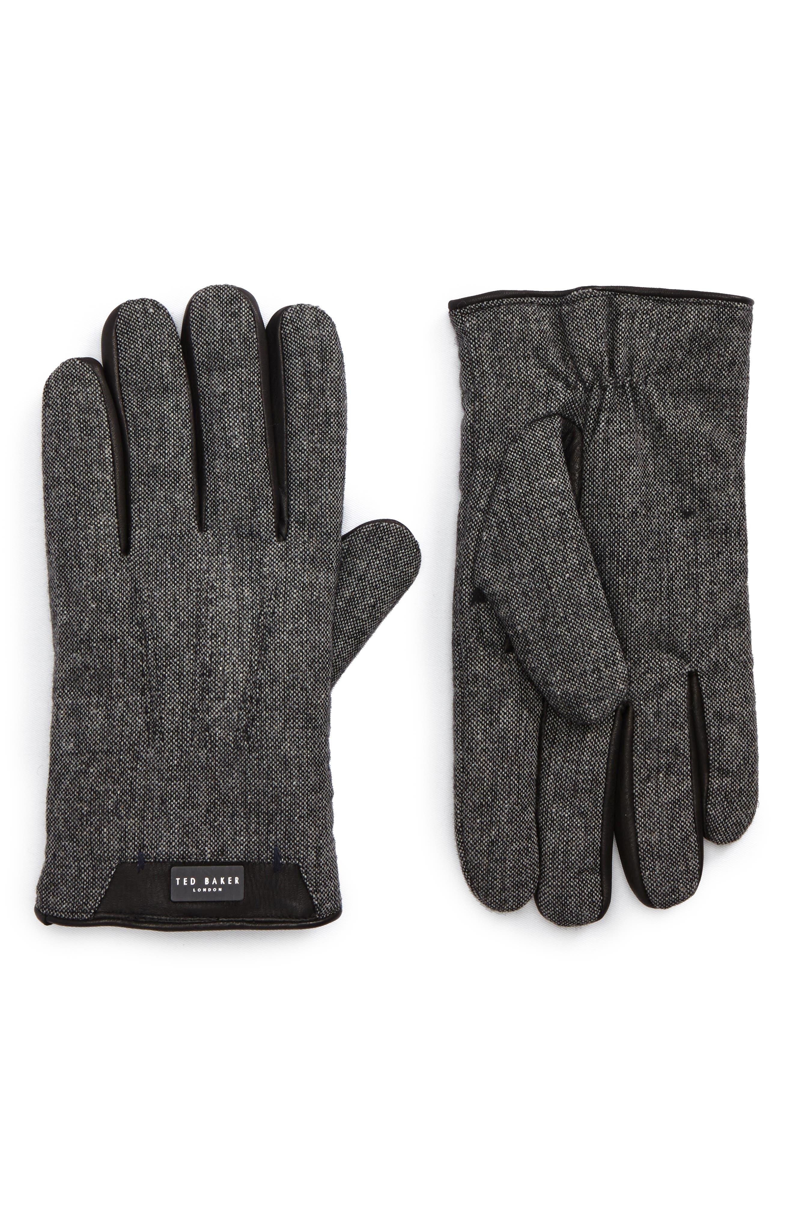 Ted Baker London Slick Leather Trim Gloves