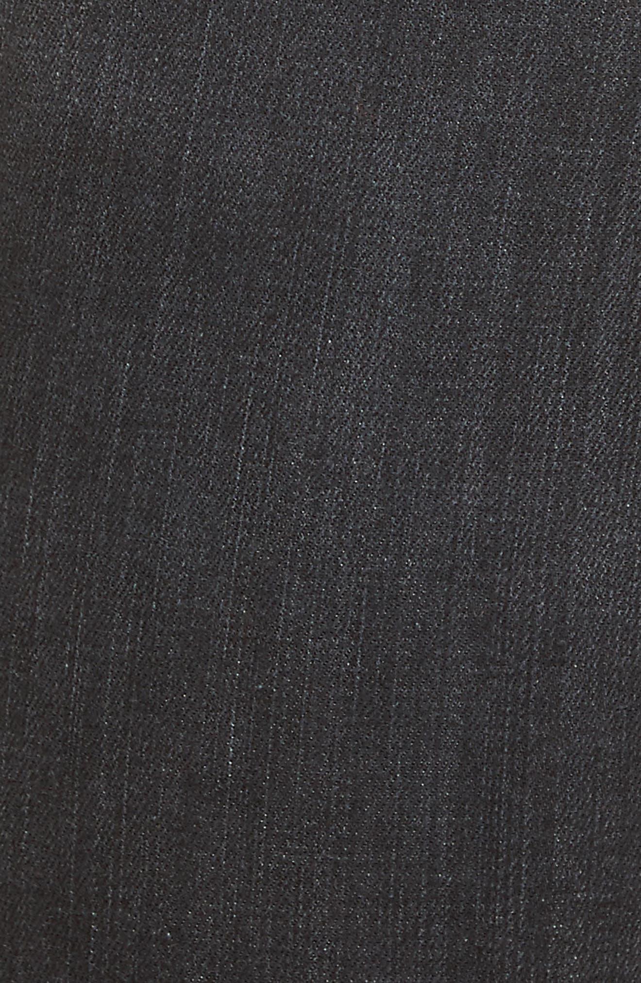 Fishnet Crop Skinny Jeans,                             Alternate thumbnail 5, color,                             Black