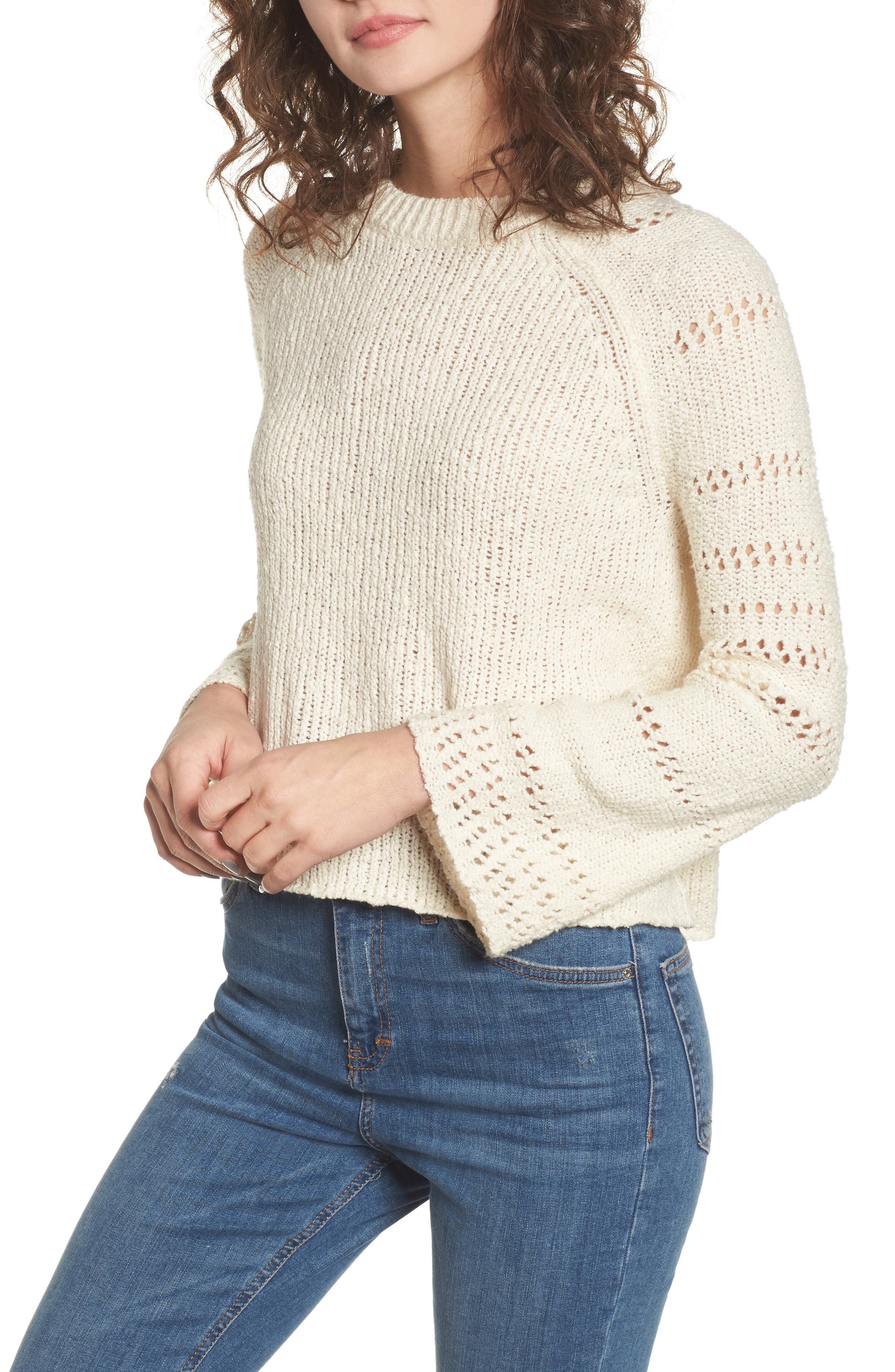 Cozy Love Bell Sleeve Sweater,                         Main,                         color, White Cap