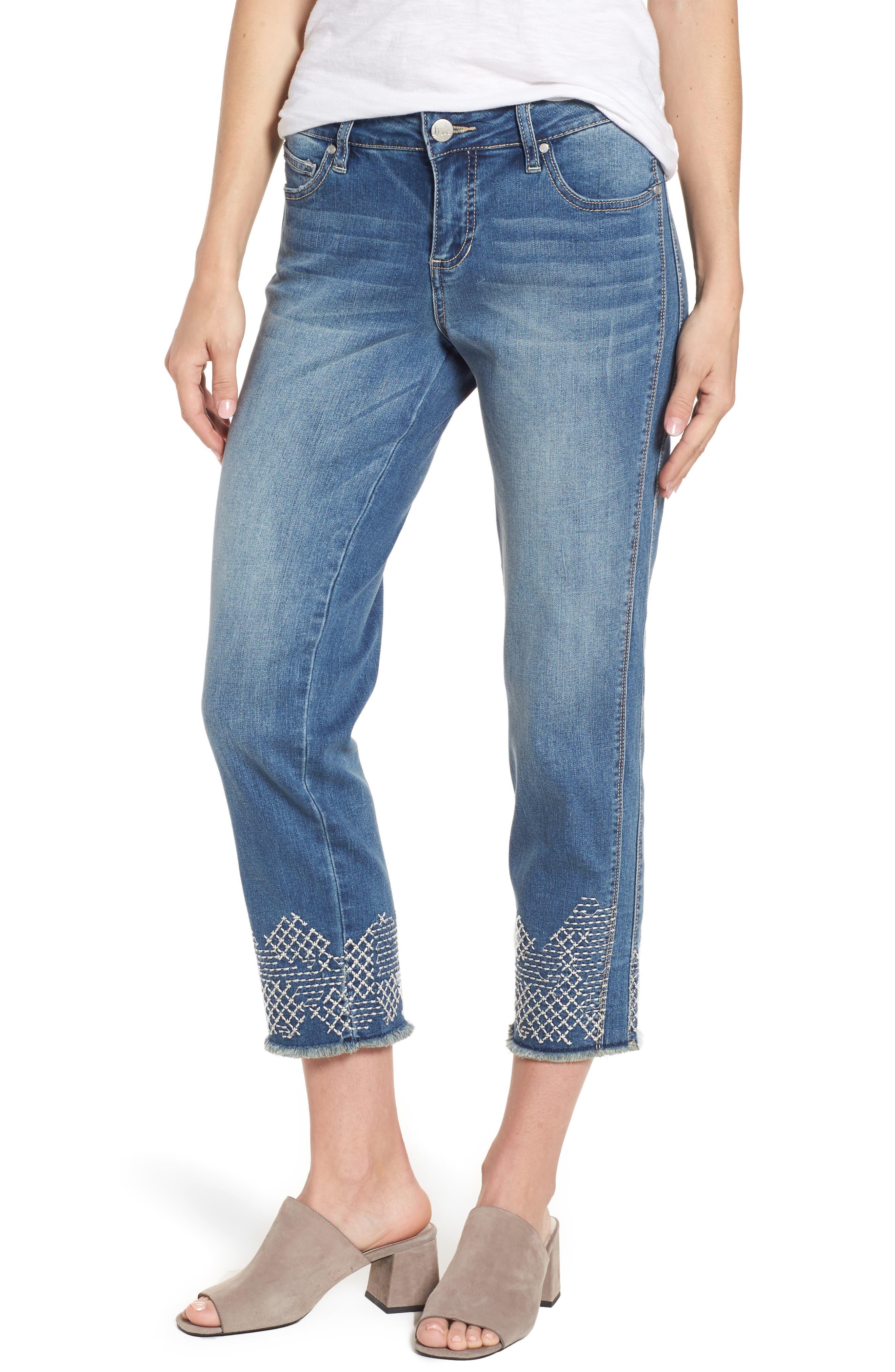 Long Straight Ankle Jeans,                             Main thumbnail 1, color,                             Horizon Blue