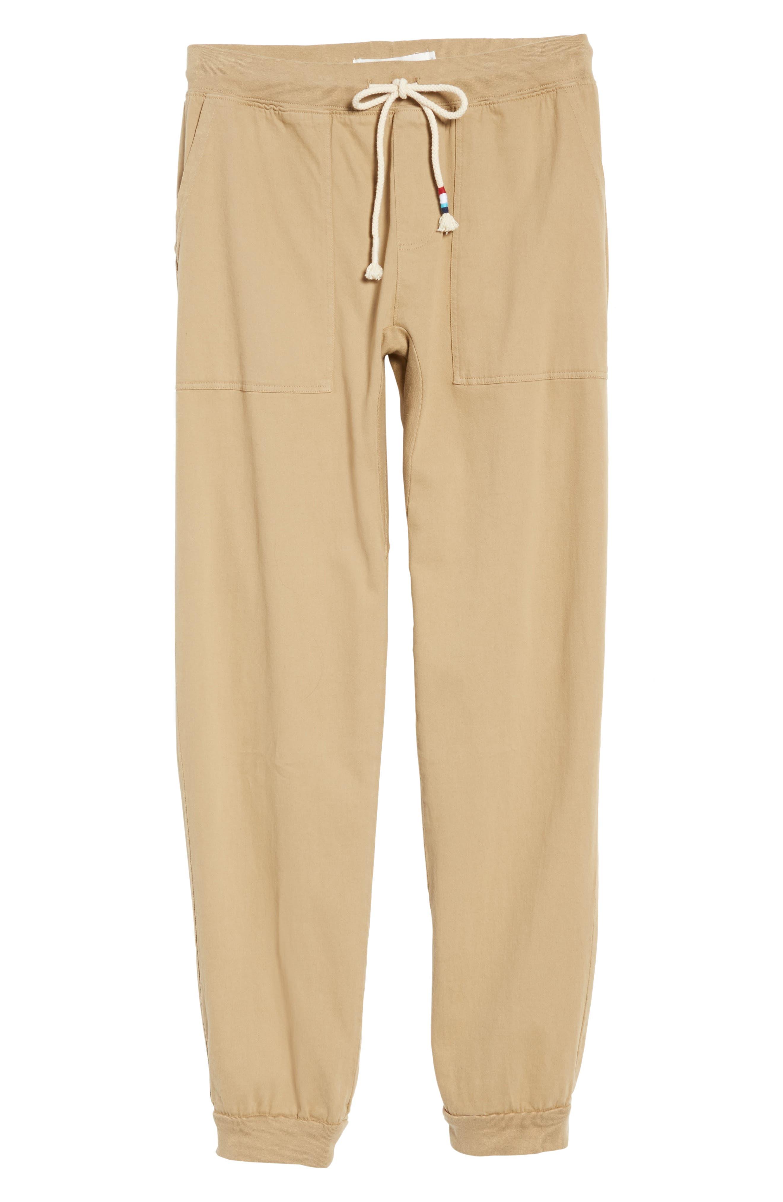 Essential Twill Jogger Pants,                             Alternate thumbnail 6, color,                             Khaki