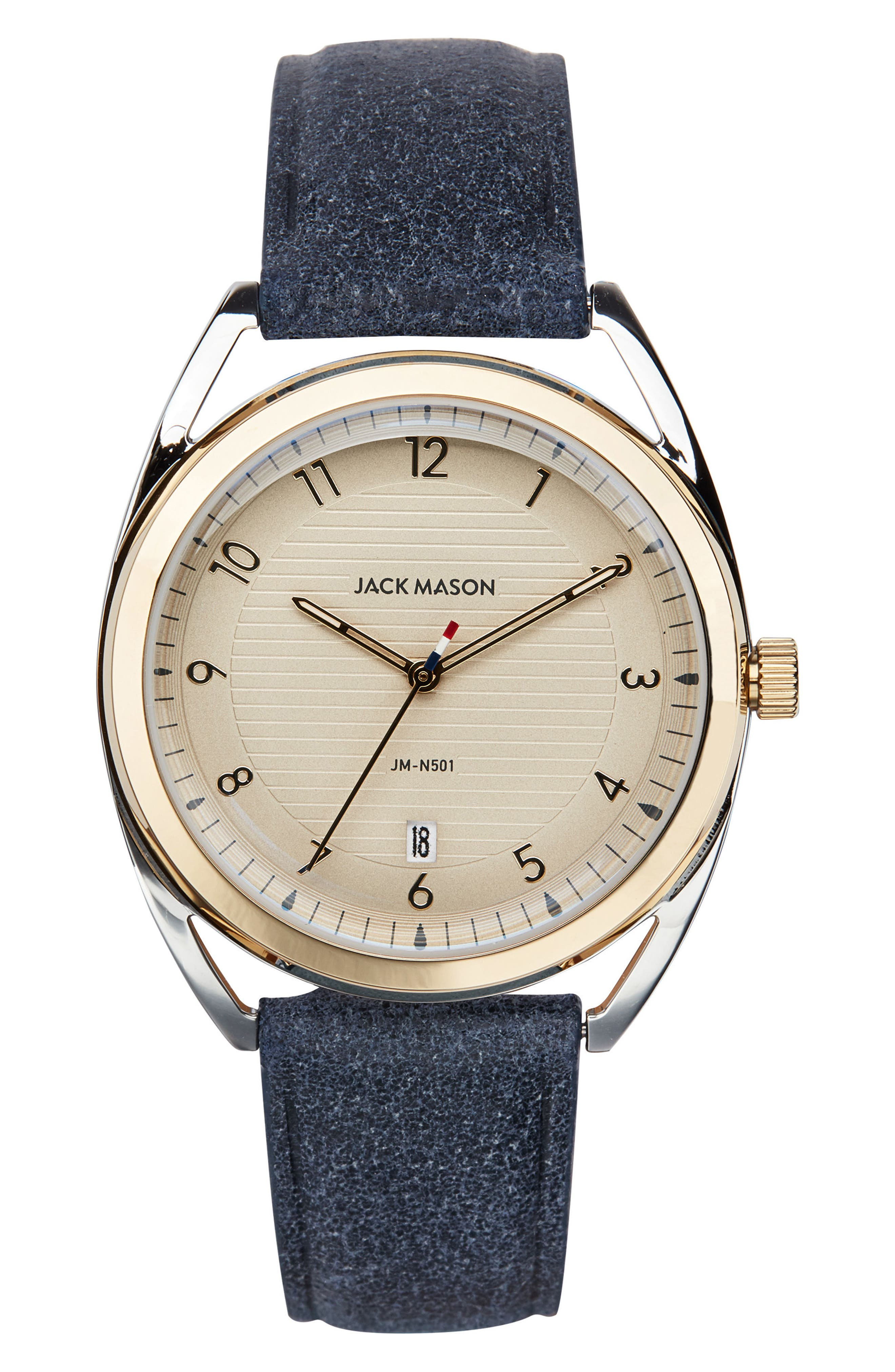 Deck Leather Strap Watch, 36mm,                             Main thumbnail 1, color,                             Navy/ Champagne/ Silver