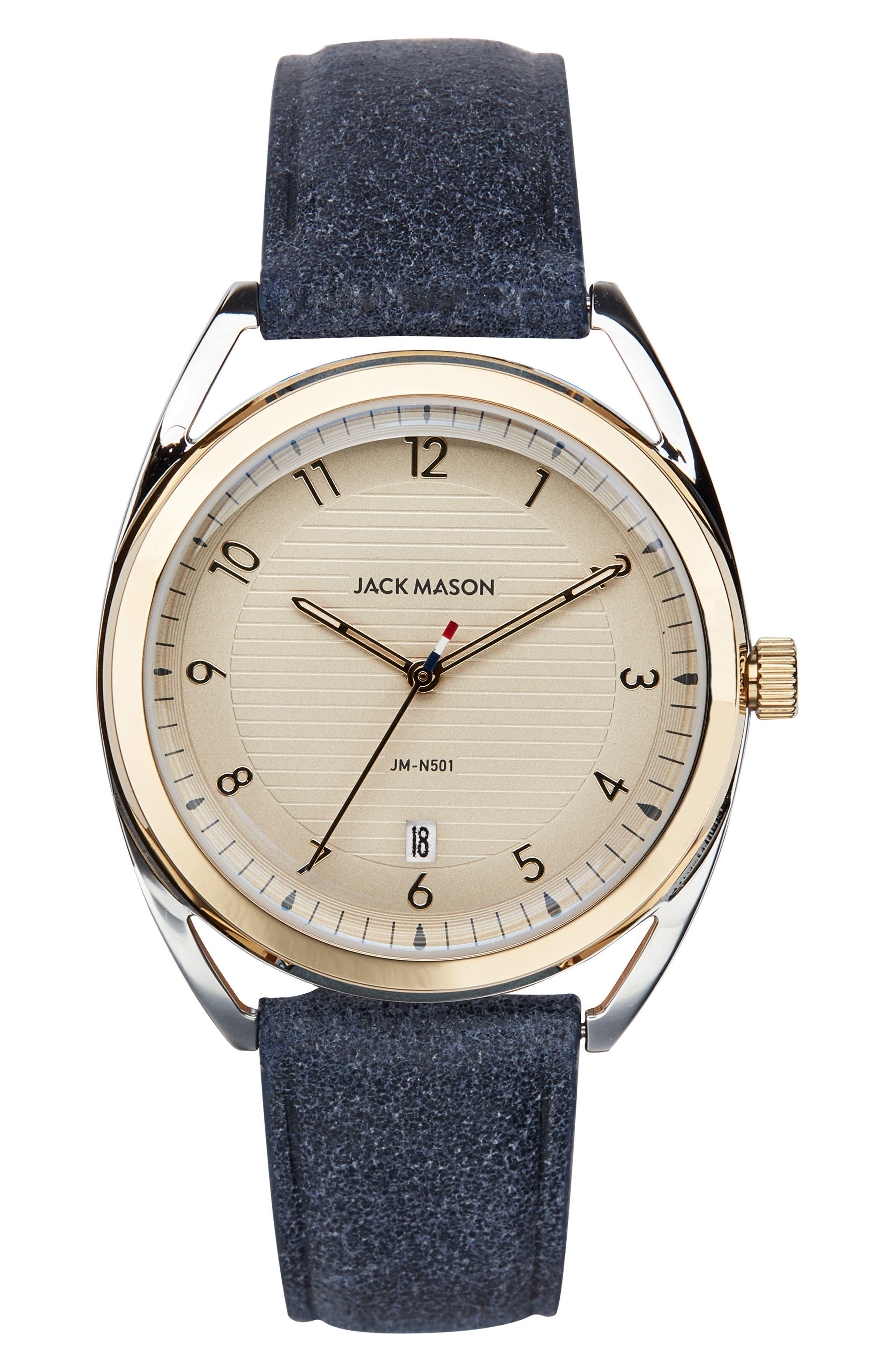 Jack Mason Deck Leather Strap Watch, 36mm
