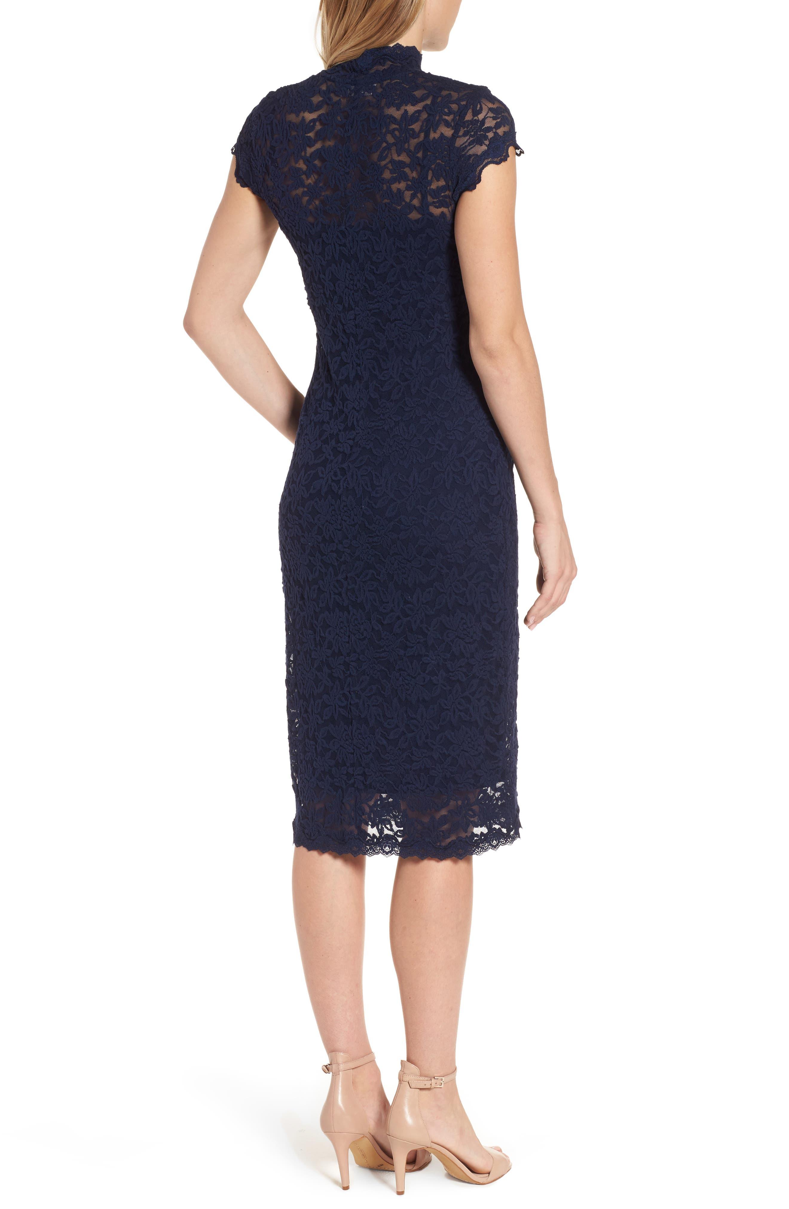 Delicia Lace Body-Con Dress,                             Alternate thumbnail 2, color,                             Dark Blue
