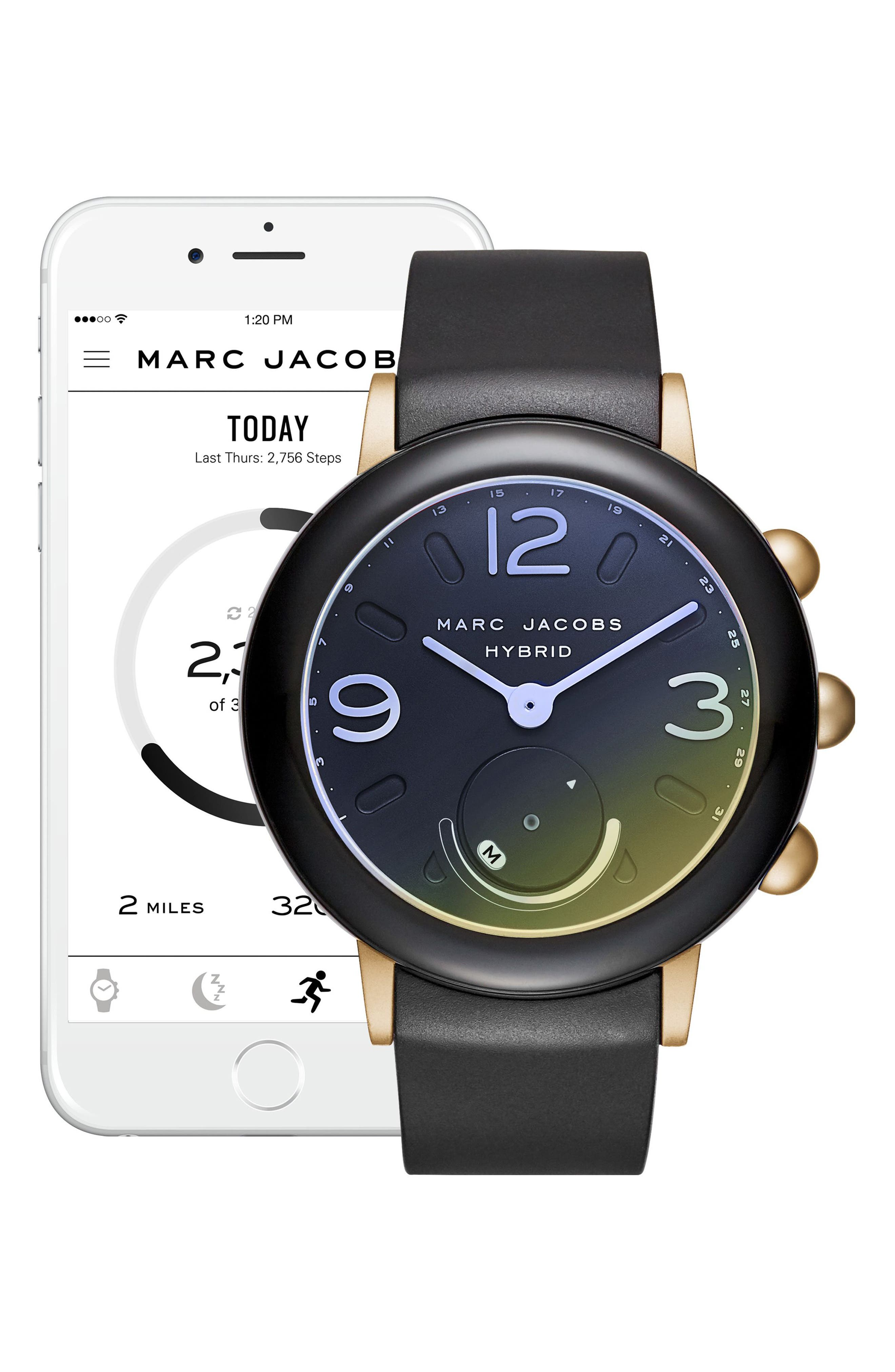 Alternate Image 2  - Marc Jacobs Riley Hybrid Rubber Strap Watch, 42mm
