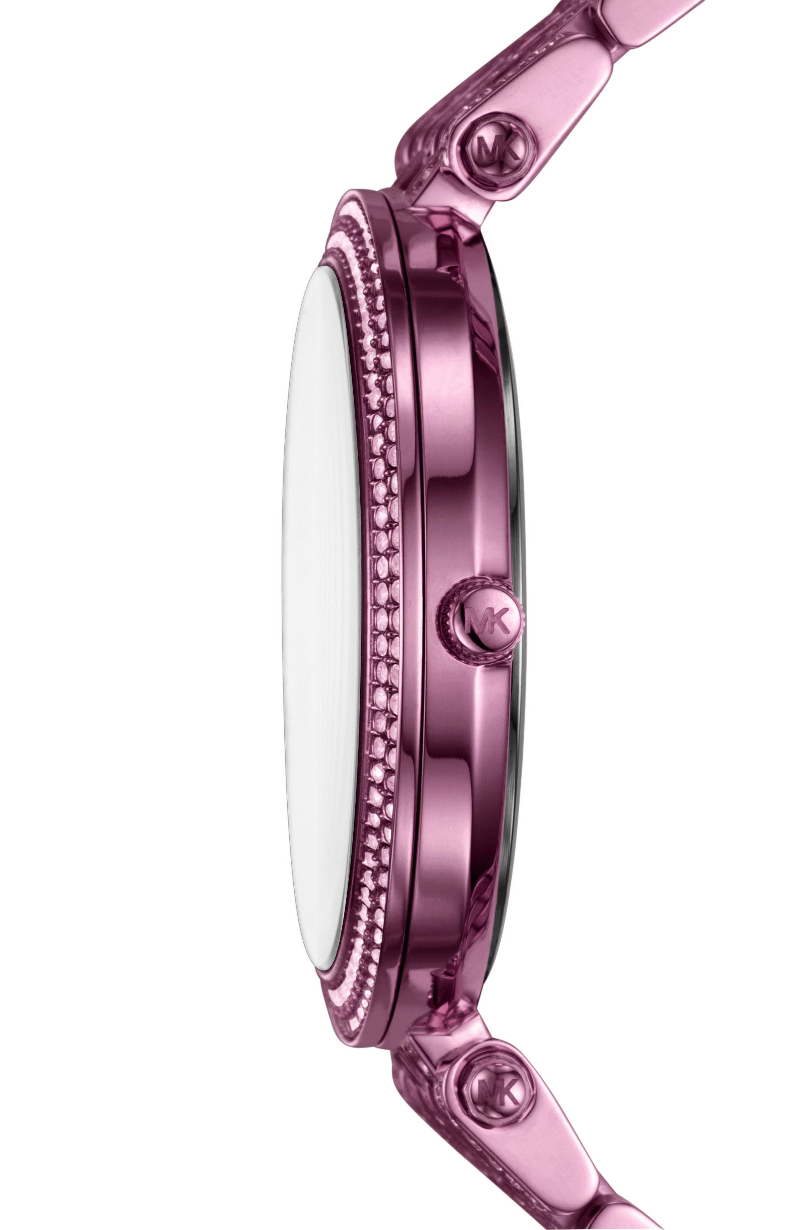 Darci Crystal Bezel Braclet Watch, 39mm,                             Alternate thumbnail 2, color,                             Purple