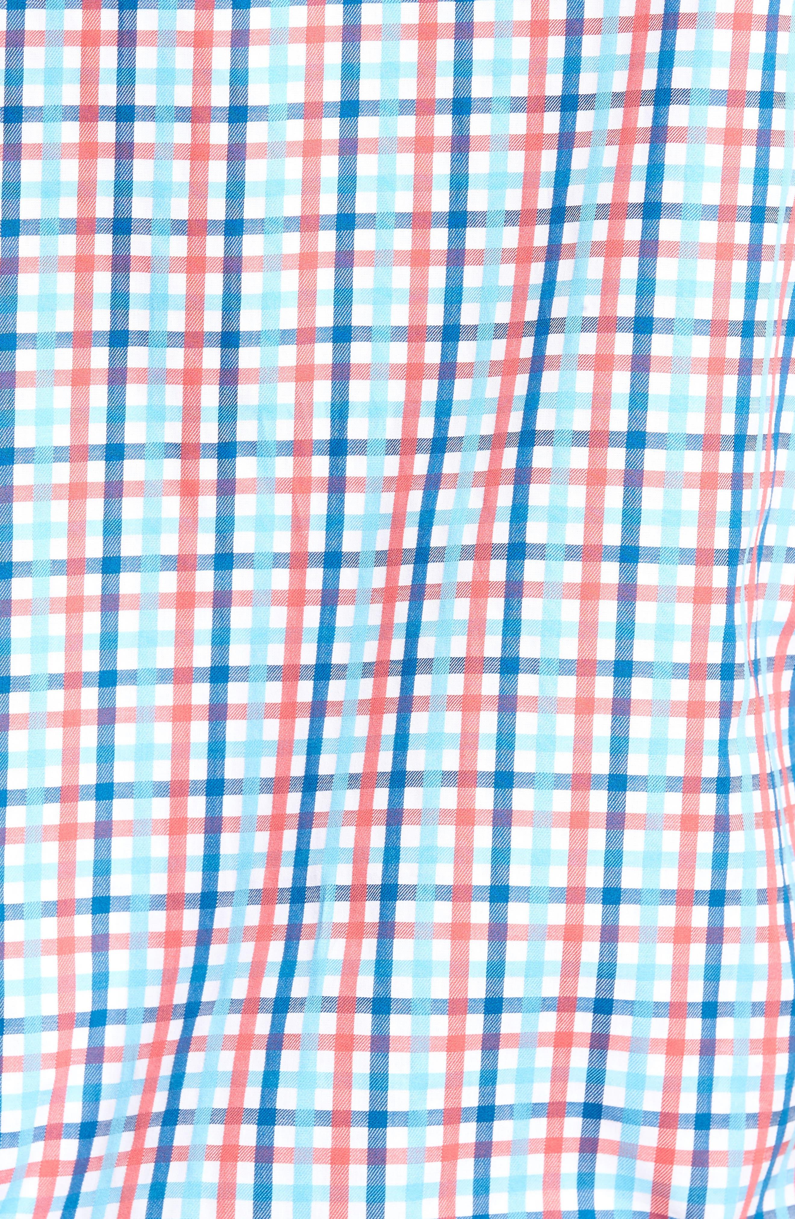 Scott Regular Fit Plaid Sport Shirt,                             Alternate thumbnail 5, color,                             Coral