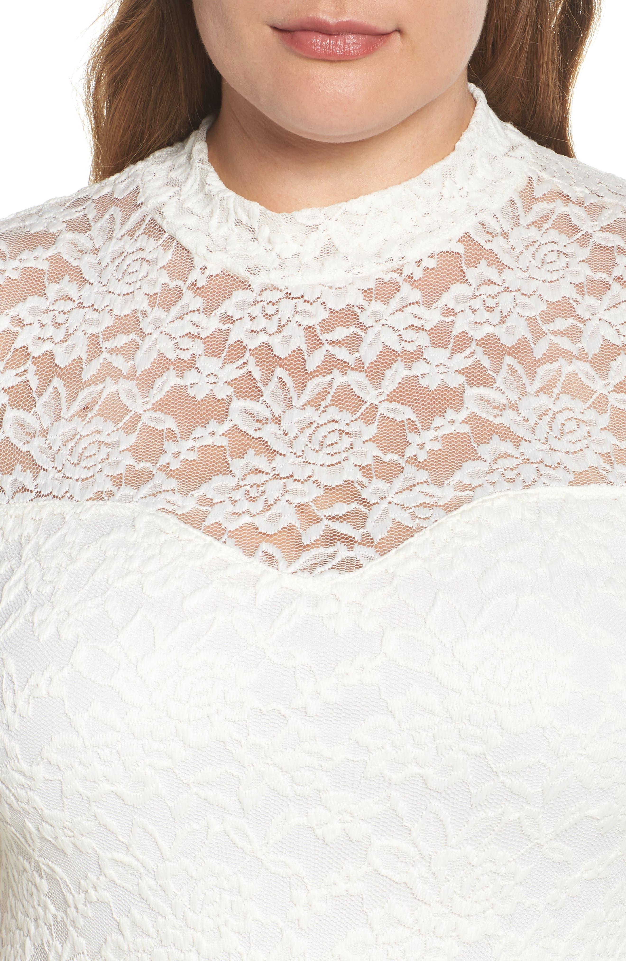 Lace Body-Con Midi Dress,                             Alternate thumbnail 4, color,                             Off White