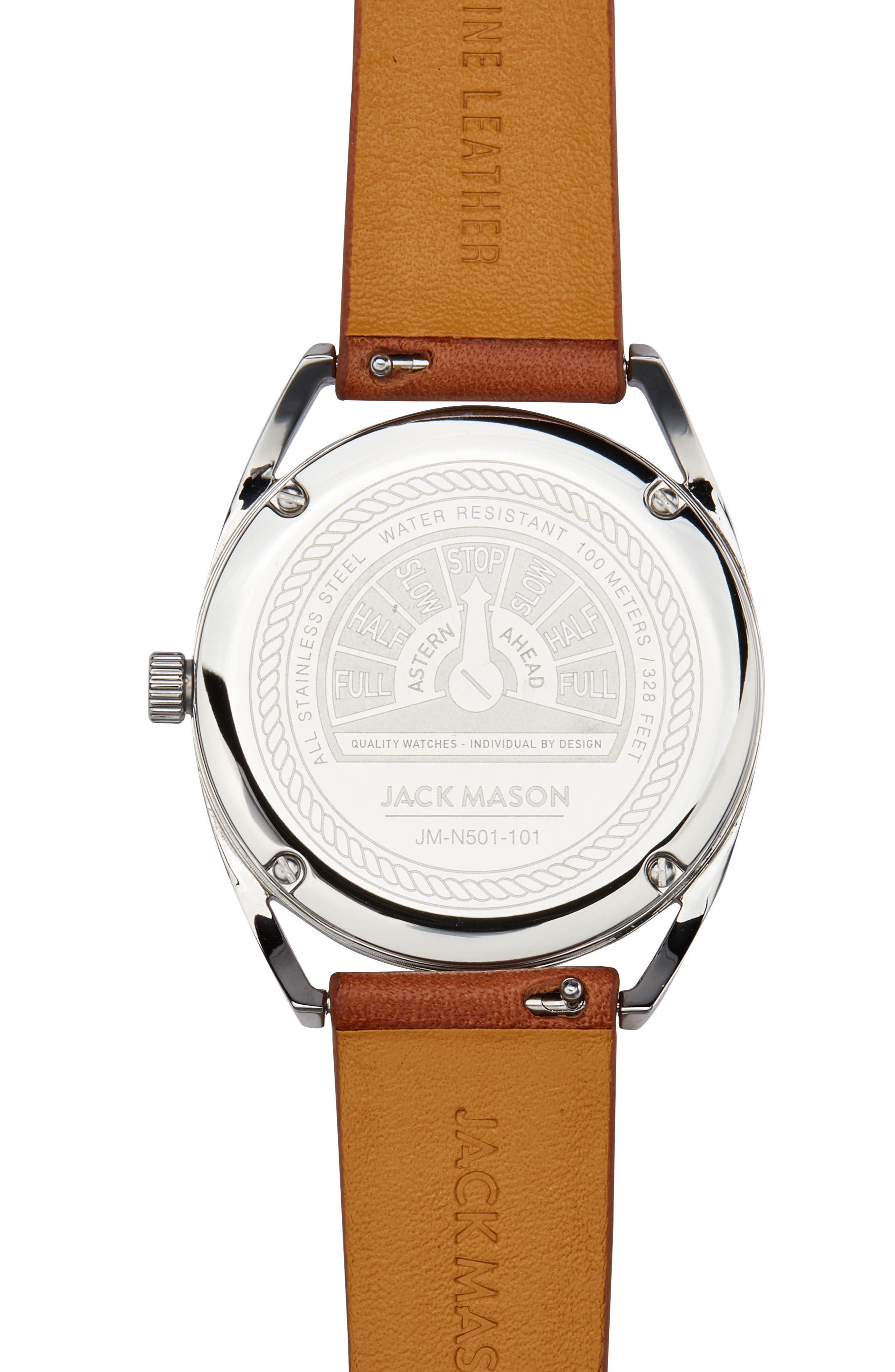 Deck Leather Strap Watch, 36mm,                             Alternate thumbnail 3, color,                             Tan/ White/ Silver
