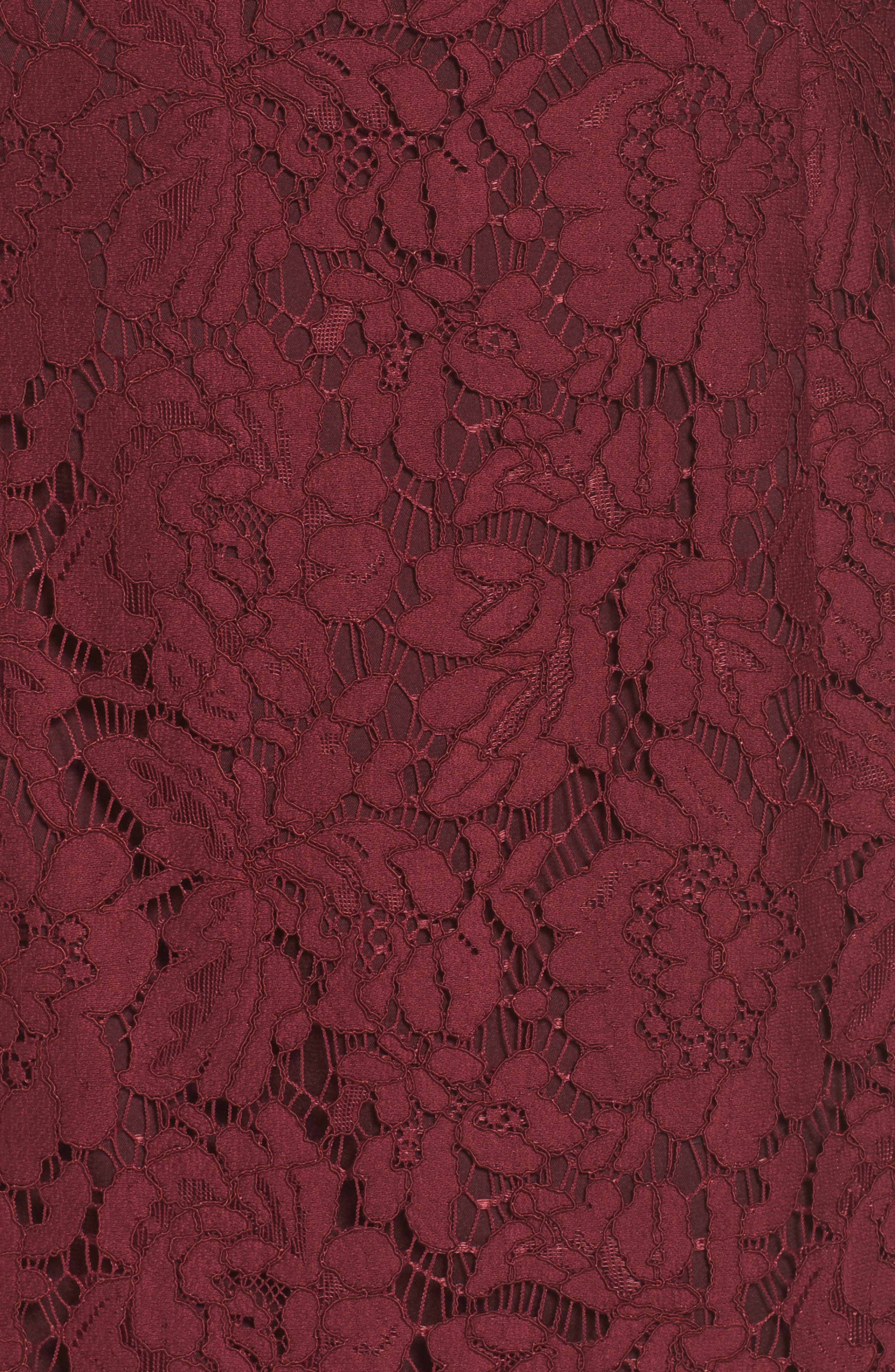 Off the Shoulder Lace Dress,                             Alternate thumbnail 5, color,                             Burgundy London