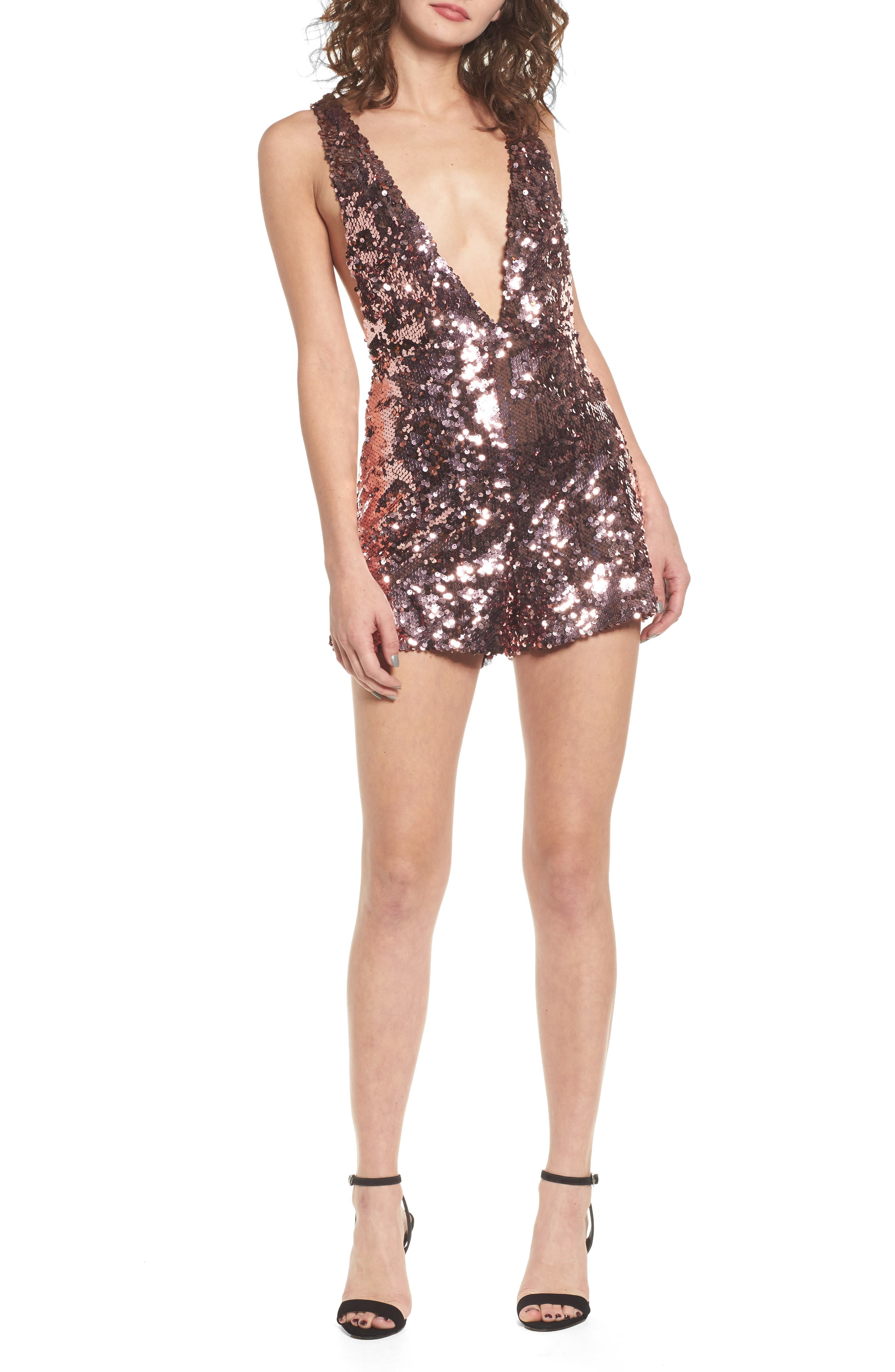 Sequin Romper,                         Main,                         color, Pink