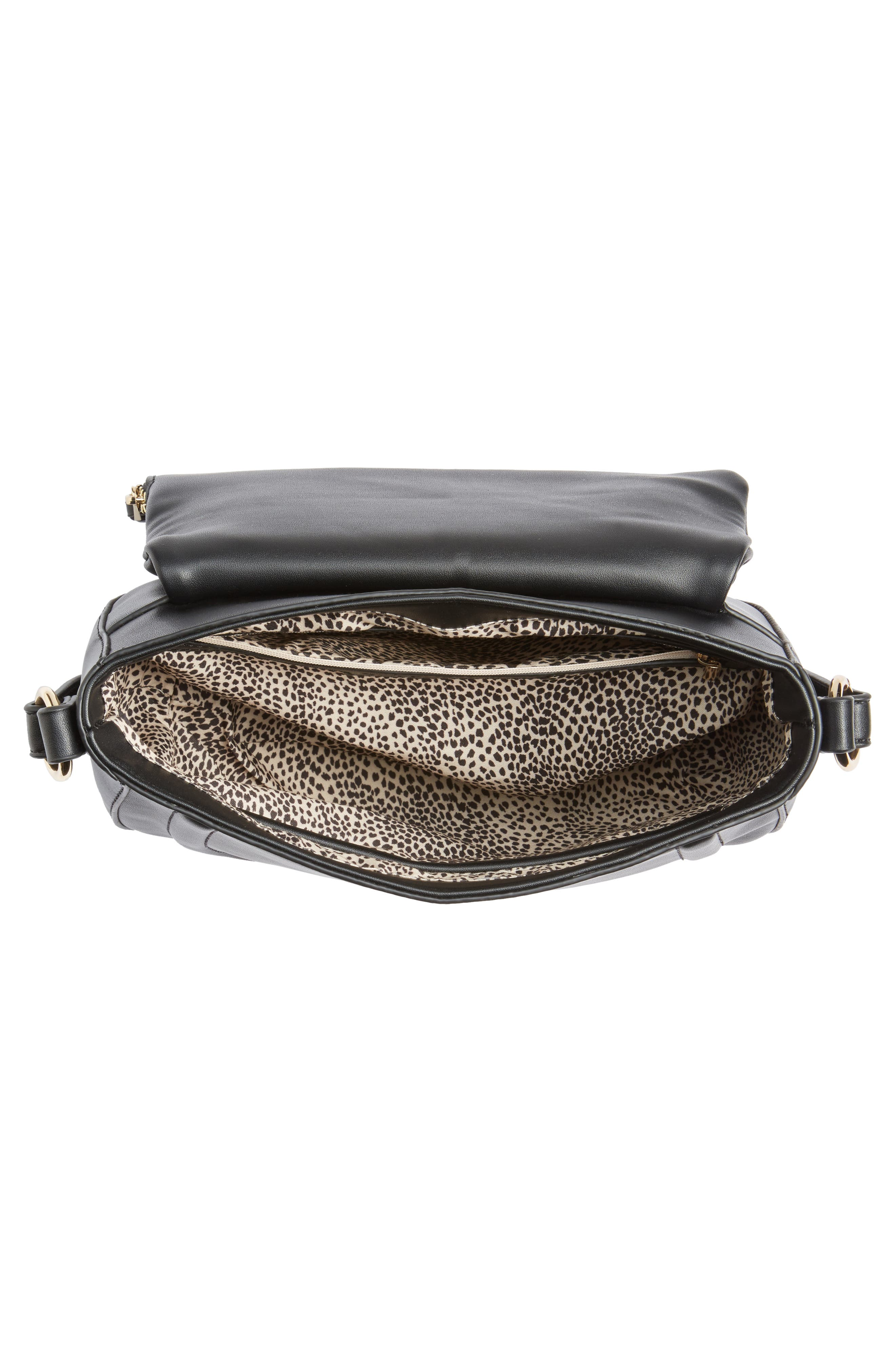 Adden Faux Leather Crossbody Bag,                             Alternate thumbnail 4, color,                             Black
