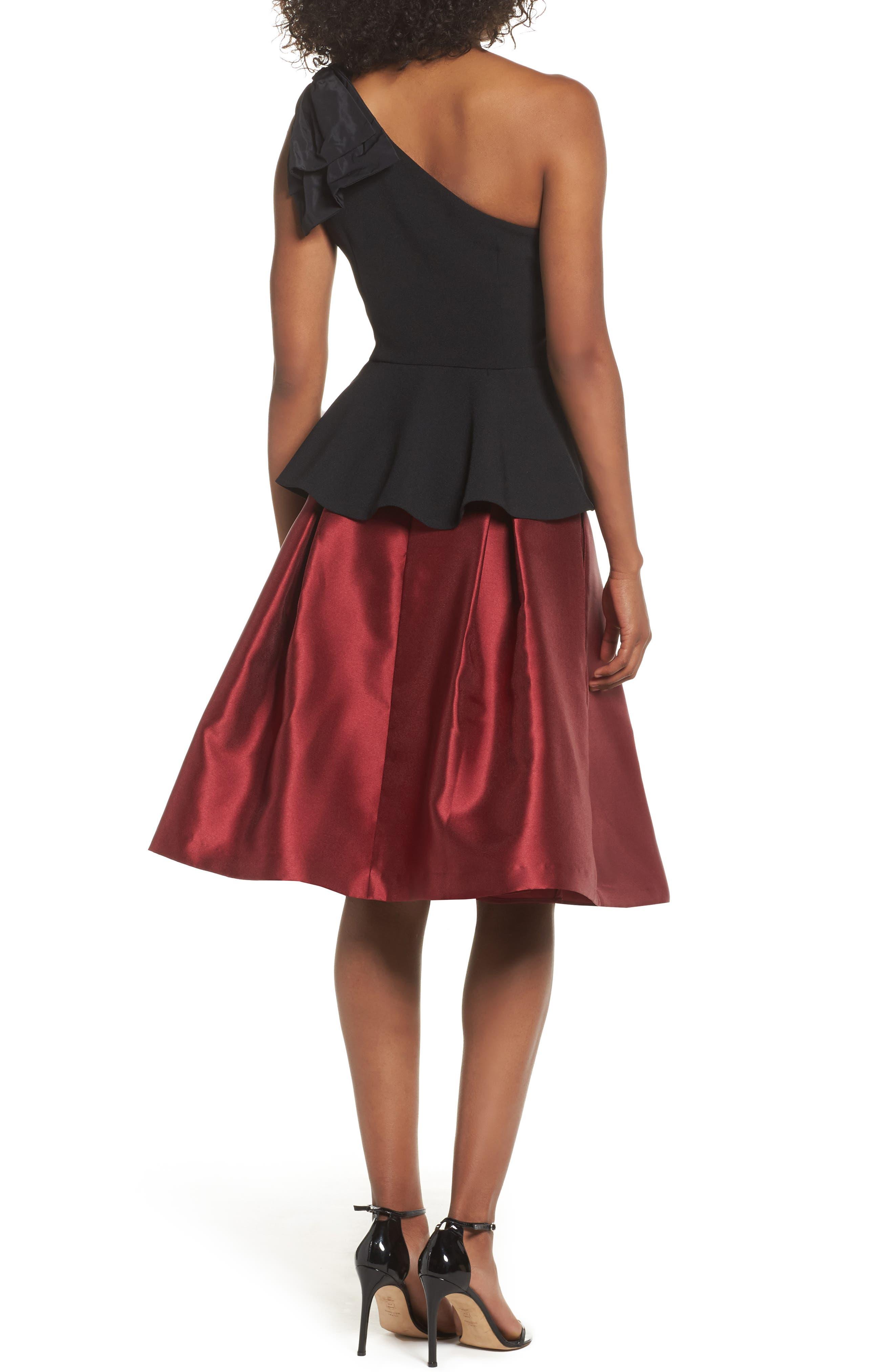 Pleated Mikado Skirt,                             Alternate thumbnail 3, color,                             Red