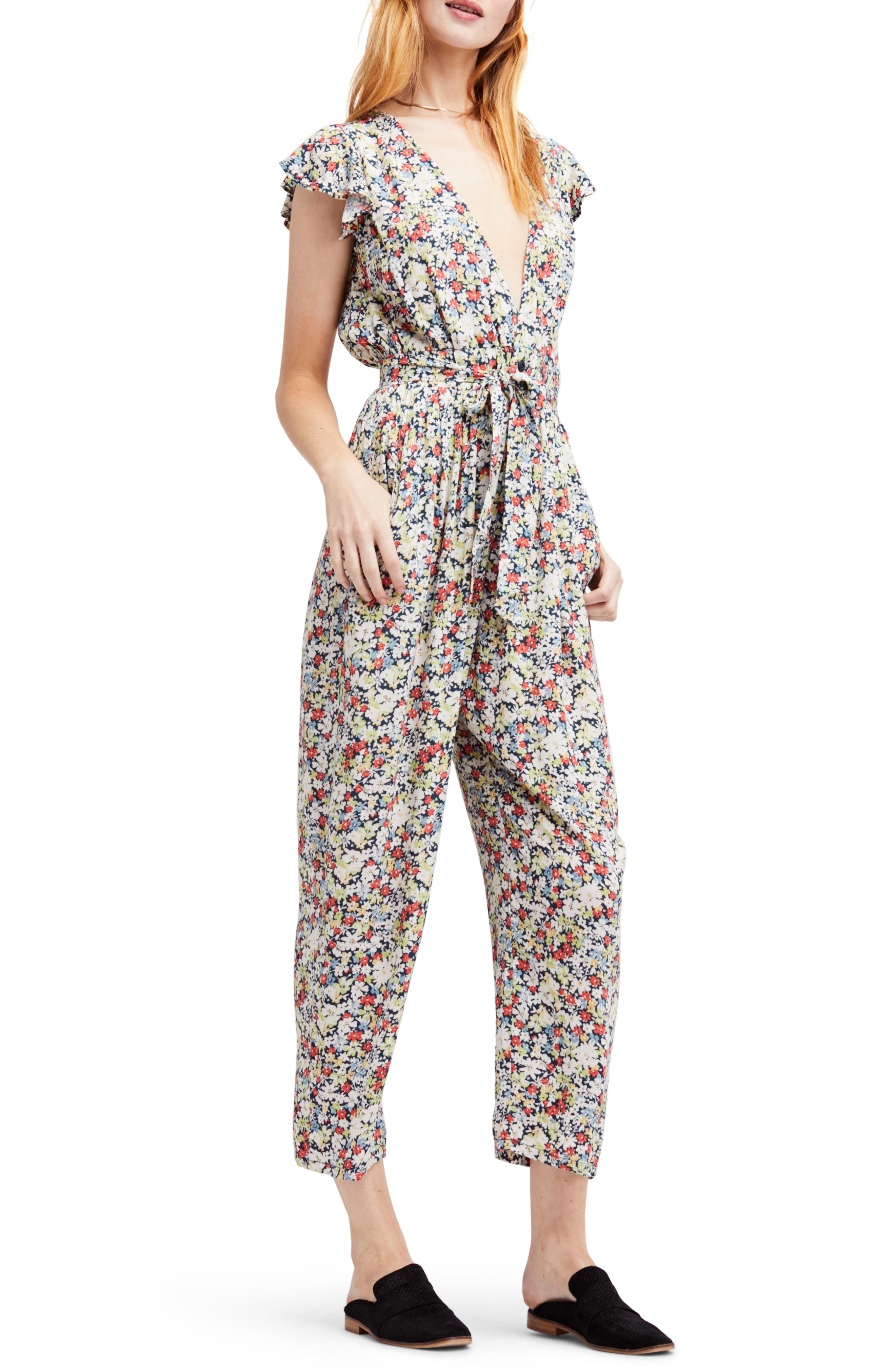 Ruffle Your Feathers Jumpsuit,                         Main,                         color, Navy