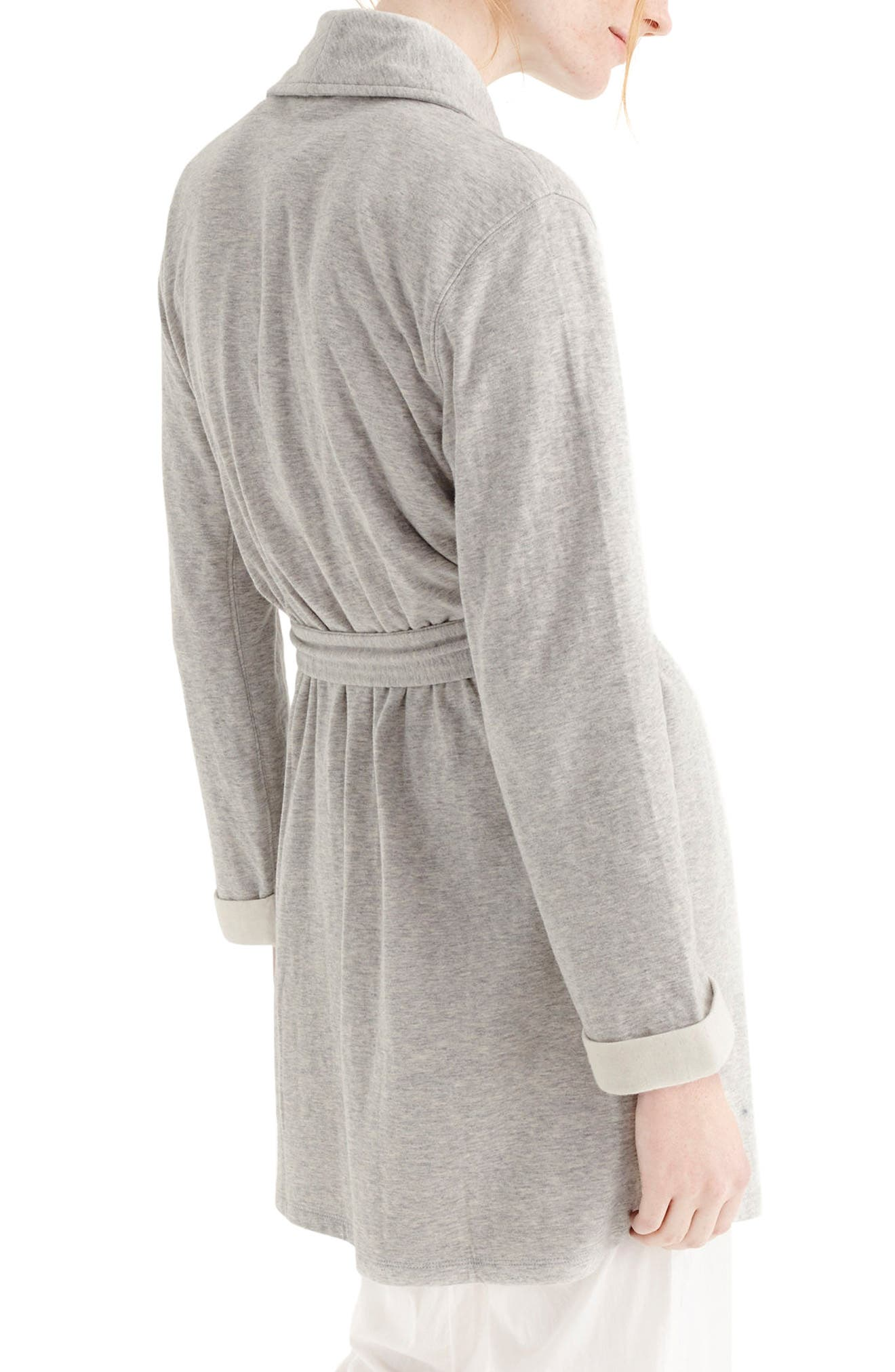 Sunday Double Knit Short Robe,                             Alternate thumbnail 2, color,                             Sleepy Grey