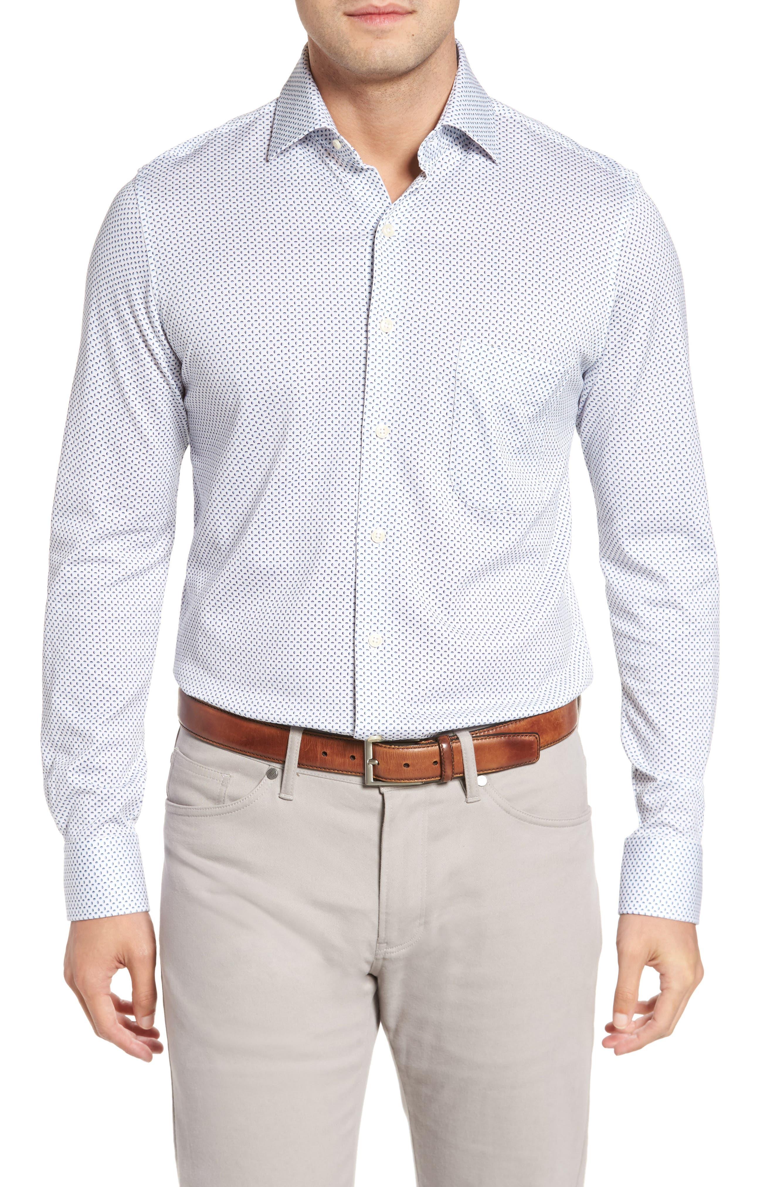 Ocean Mist Classic Fit Print Sport Shirt,                         Main,                         color, White