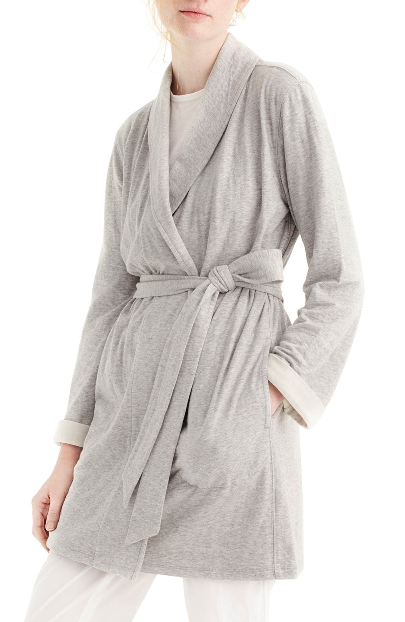 Sunday Double Knit Short Robe,                             Main thumbnail 1, color,                             Sleepy Grey