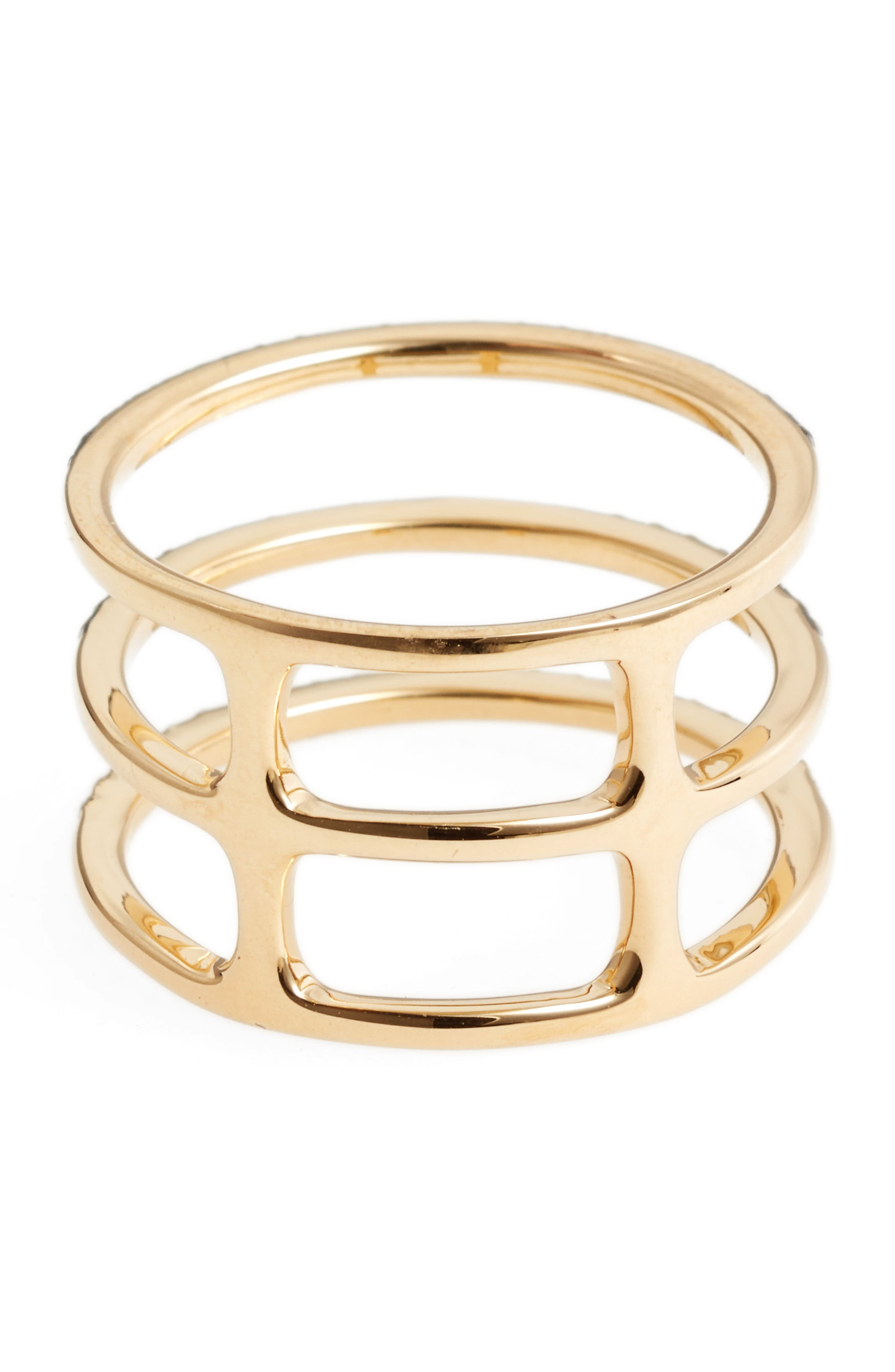 Diamond Triple Fade Stacking Ring,                             Alternate thumbnail 4, color,                             Yellow Gold