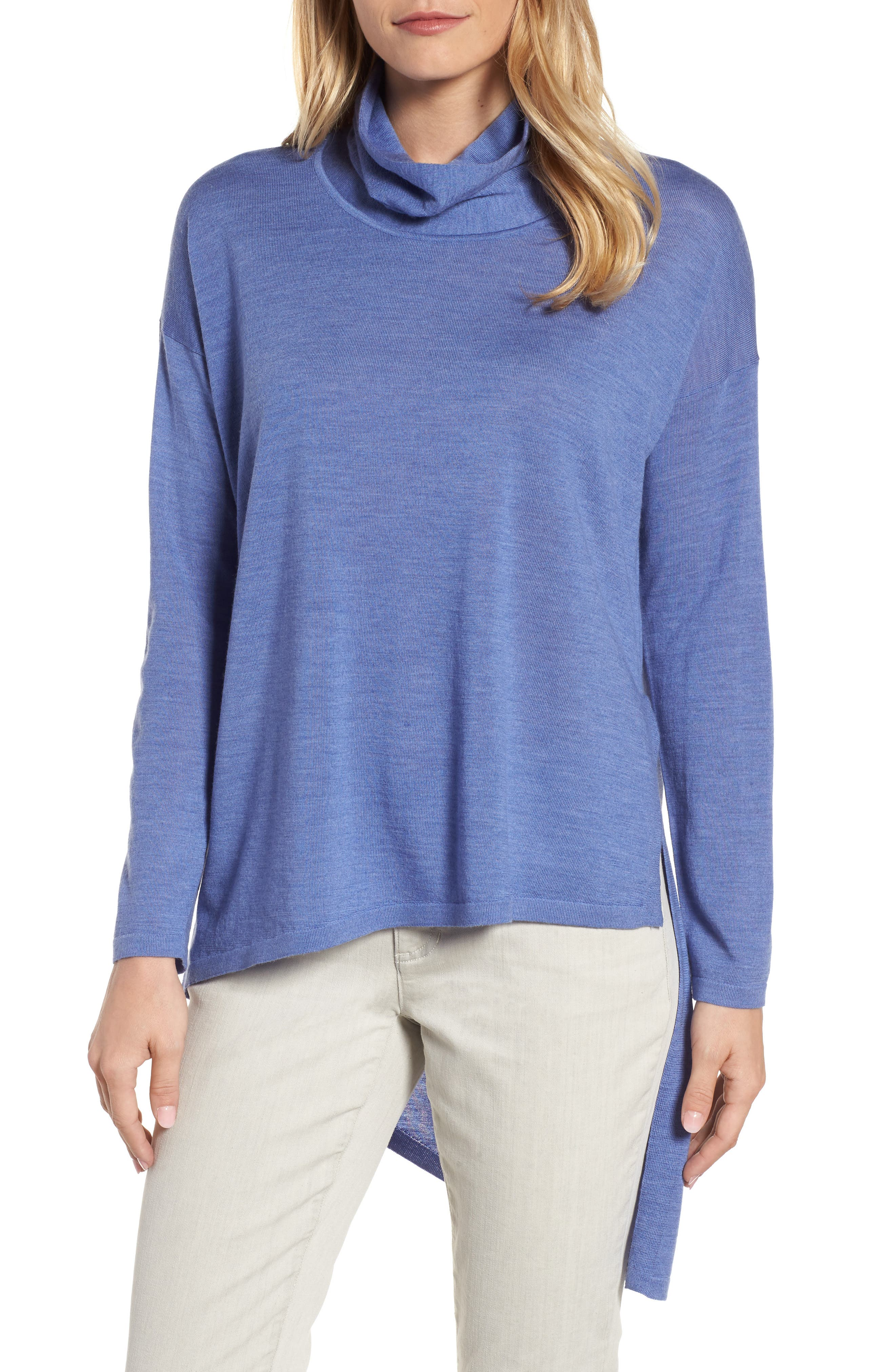 Asymmetrical Merino Wool Sweater,                             Main thumbnail 1, color,                             Periwinkle