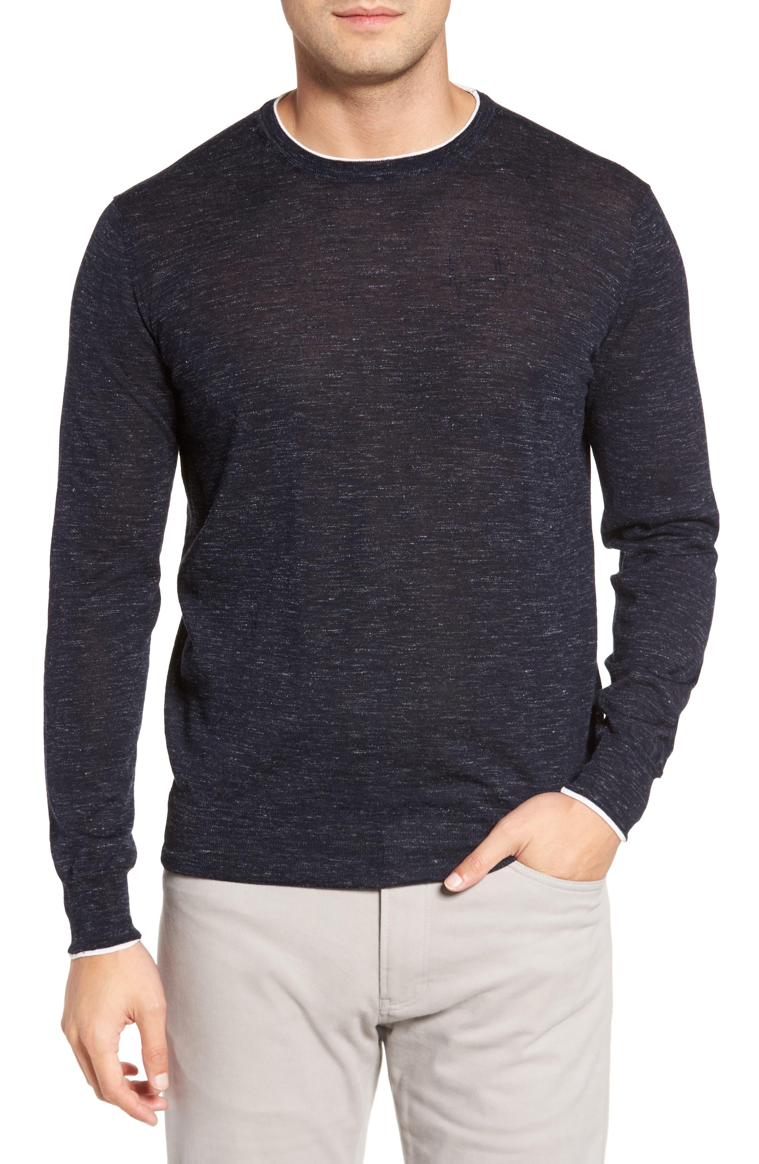 Summertime Crewneck Cotton & Silk Sweater,                         Main,                         color, Barchetta