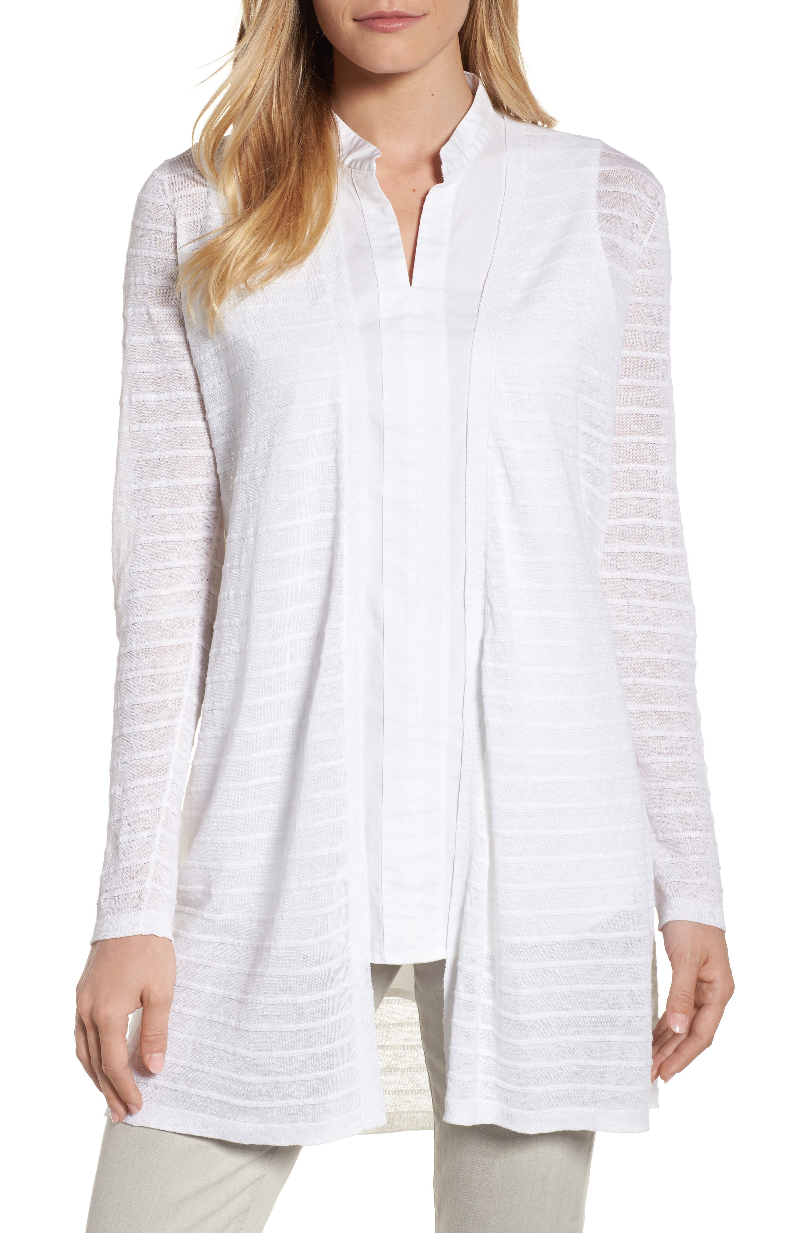Alternate Image 1 Selected - Eileen Fisher Long Organic Linen Blend Jacquard Cardigan