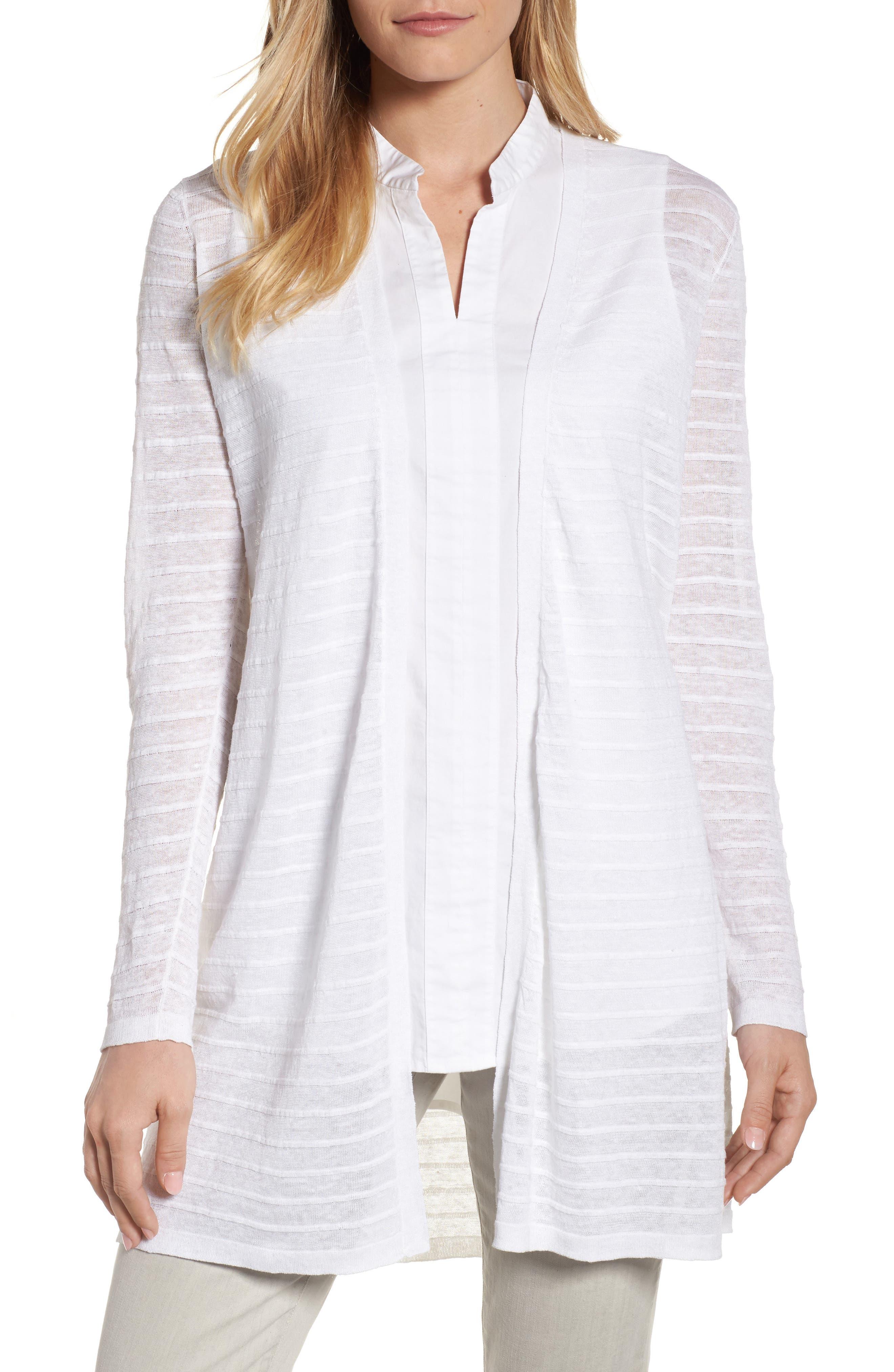 Long Organic Linen Blend Jacquard Cardigan,                         Main,                         color, White