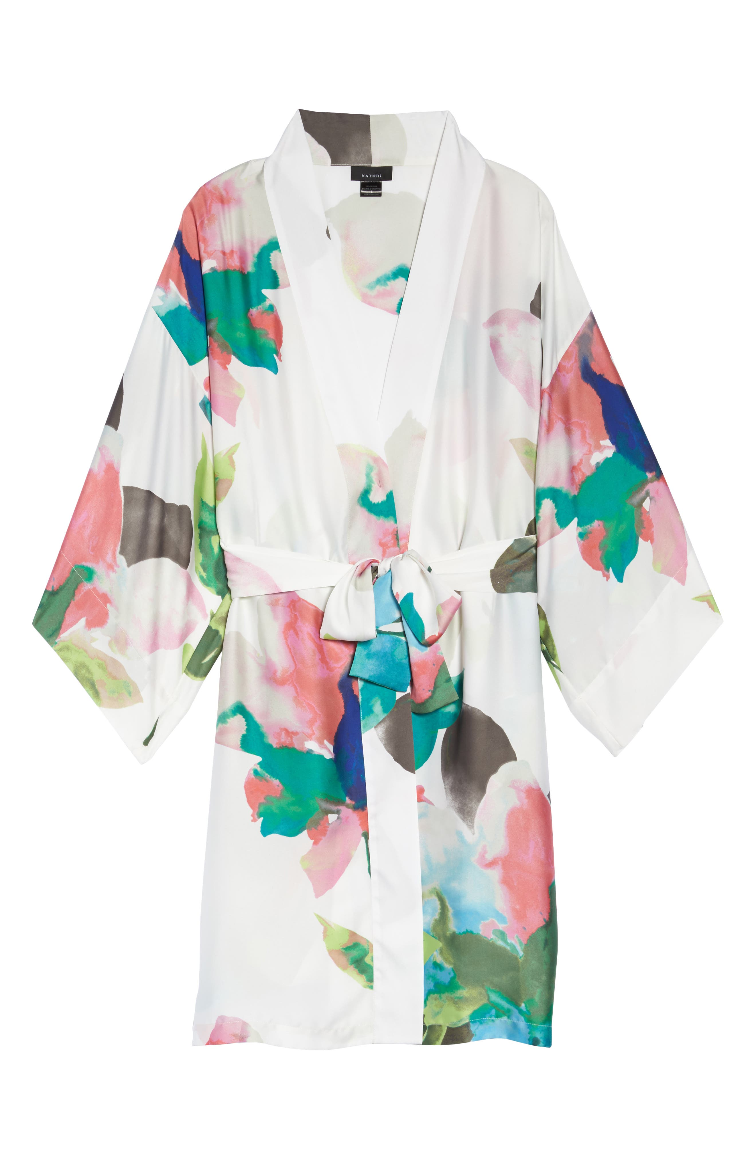 Water Lily Print Satin Wrap Robe,                             Alternate thumbnail 6, color,                             Mlt- Warm Wht Multi