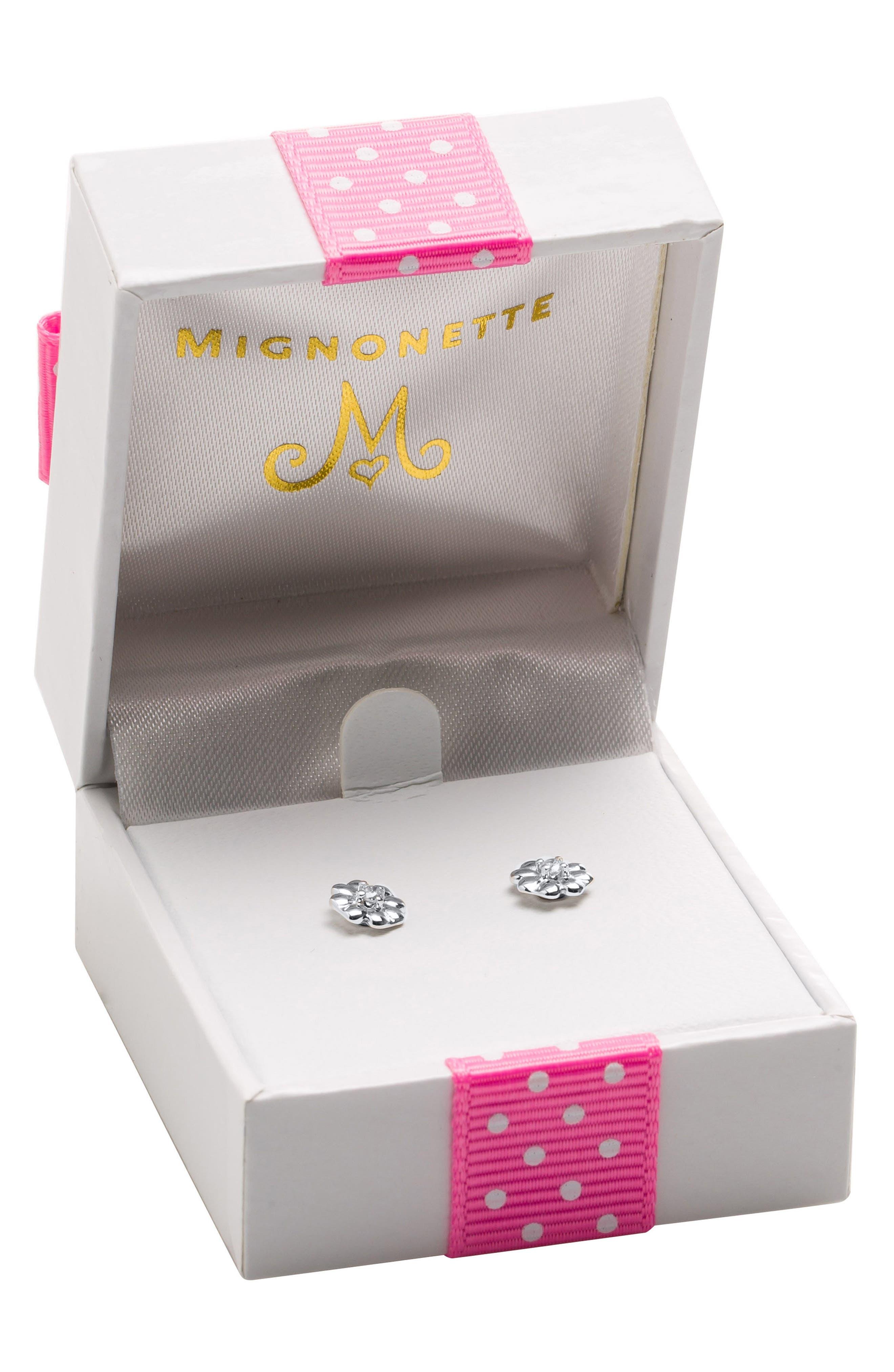 Alternate Image 2  - Mignonette Sterling Silver & Diamond Stud Earrings
