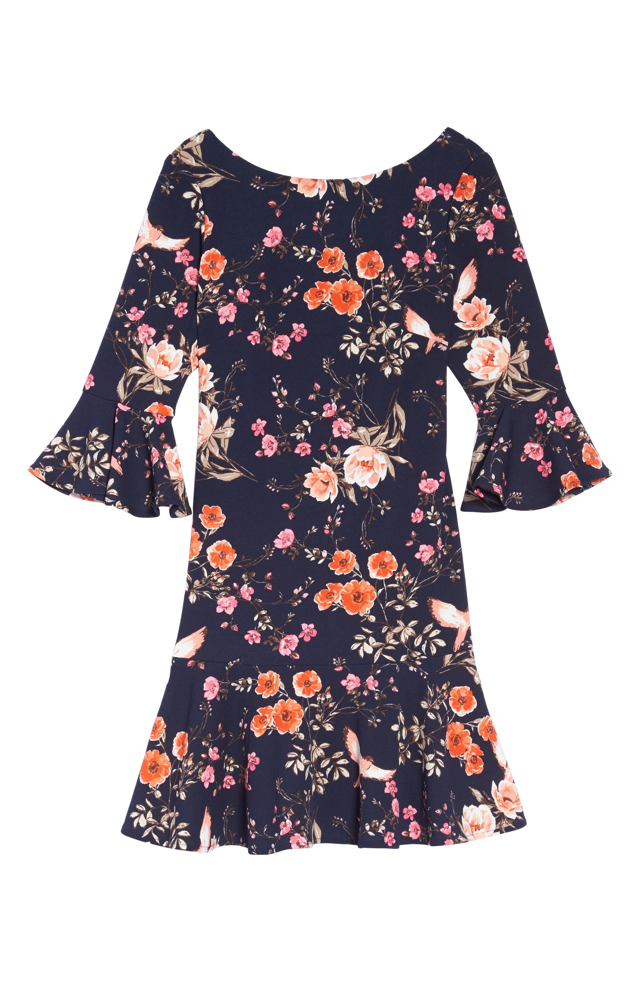 Bell Sleeve Flounce Dress,                             Alternate thumbnail 6, color,                             Navy
