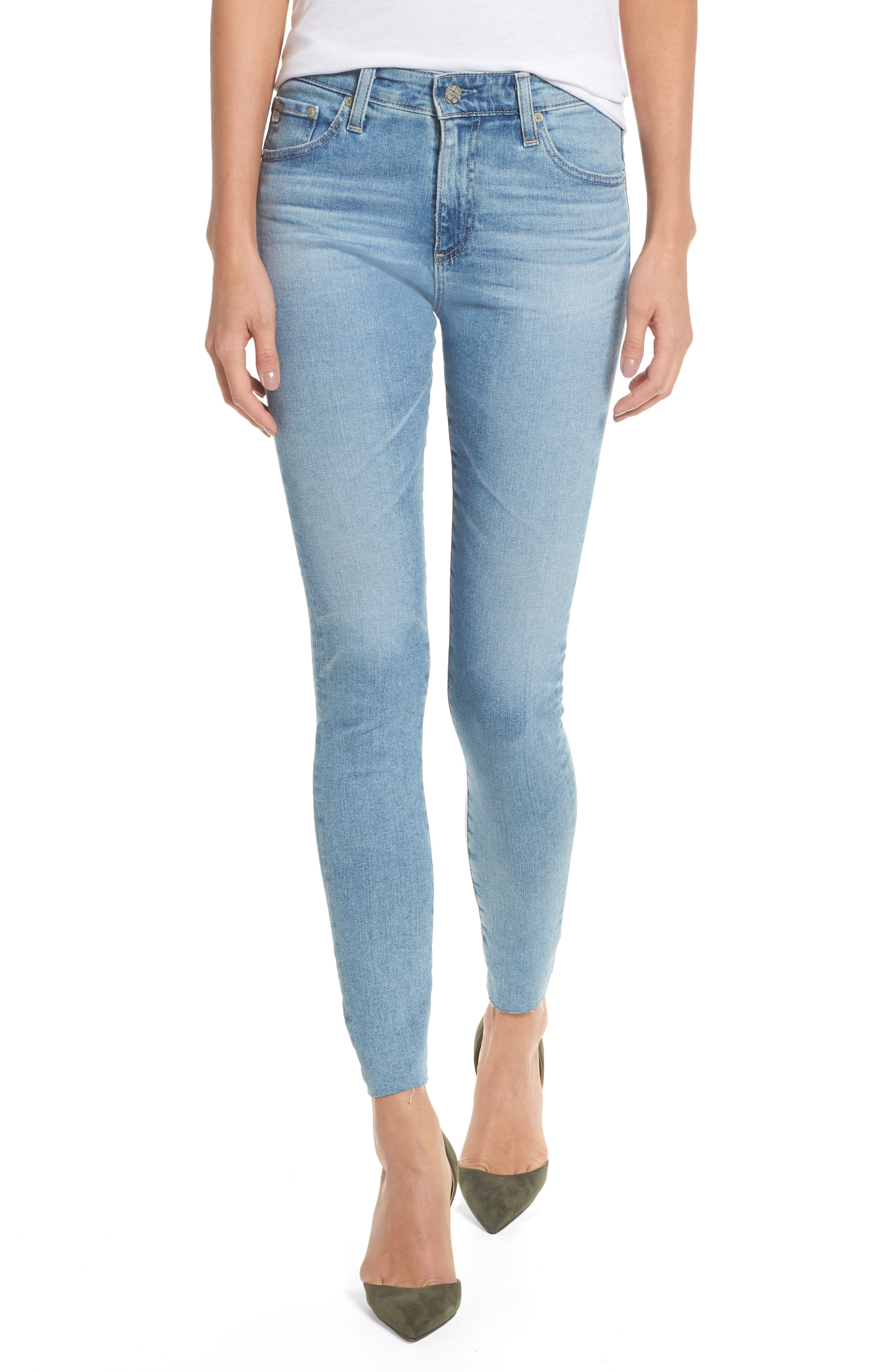 The Farrah High Waist Ankle Skinny Jeans,                         Main,                         color, 18 Years Cruising