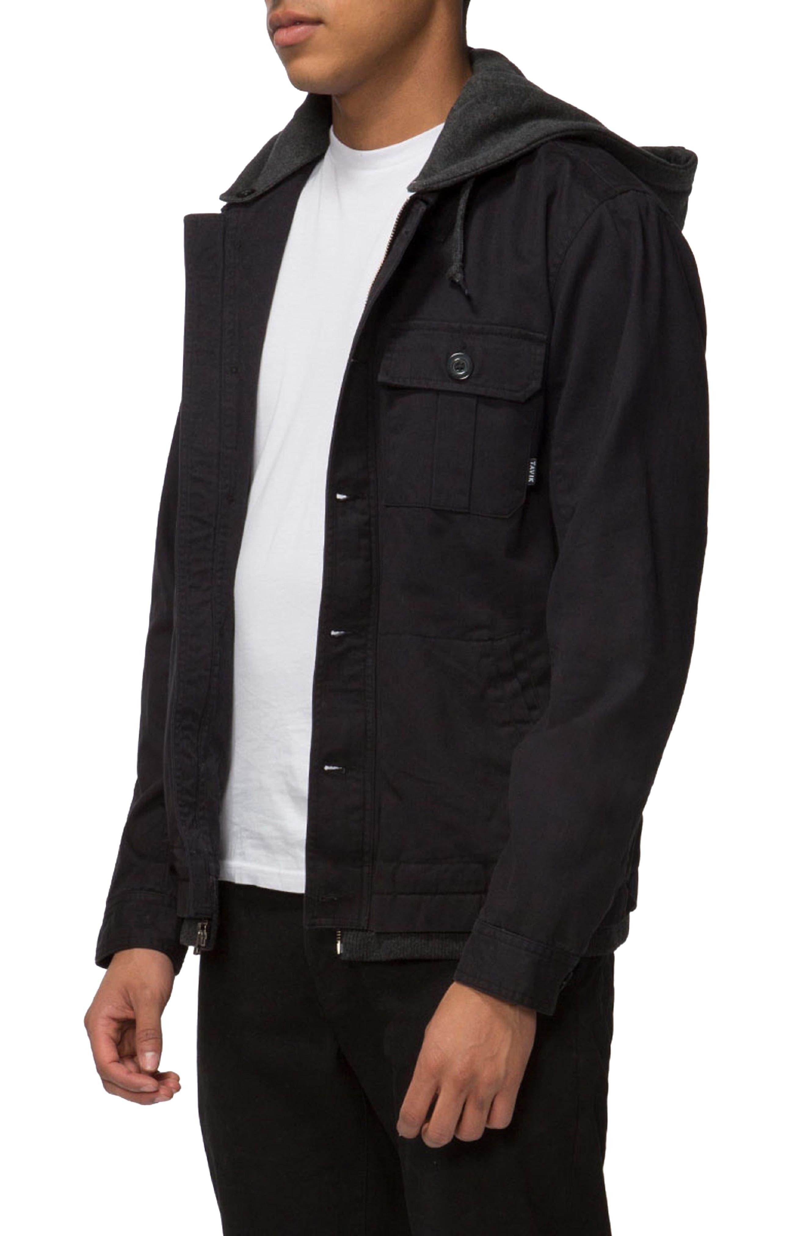Droogs Field Jacket with Detachable Hood,                             Alternate thumbnail 2, color,                             Black/ Heather Black