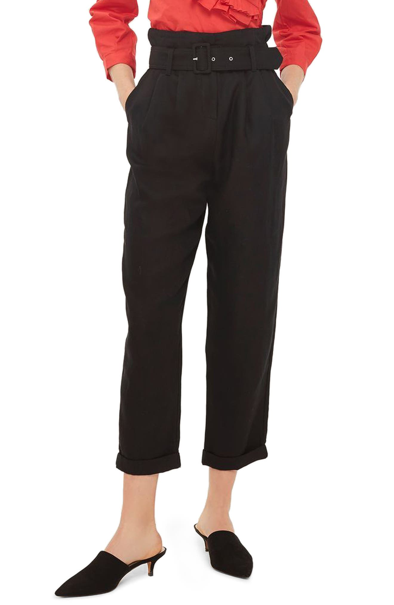 Mensy Belted Trousers,                         Main,                         color, Black