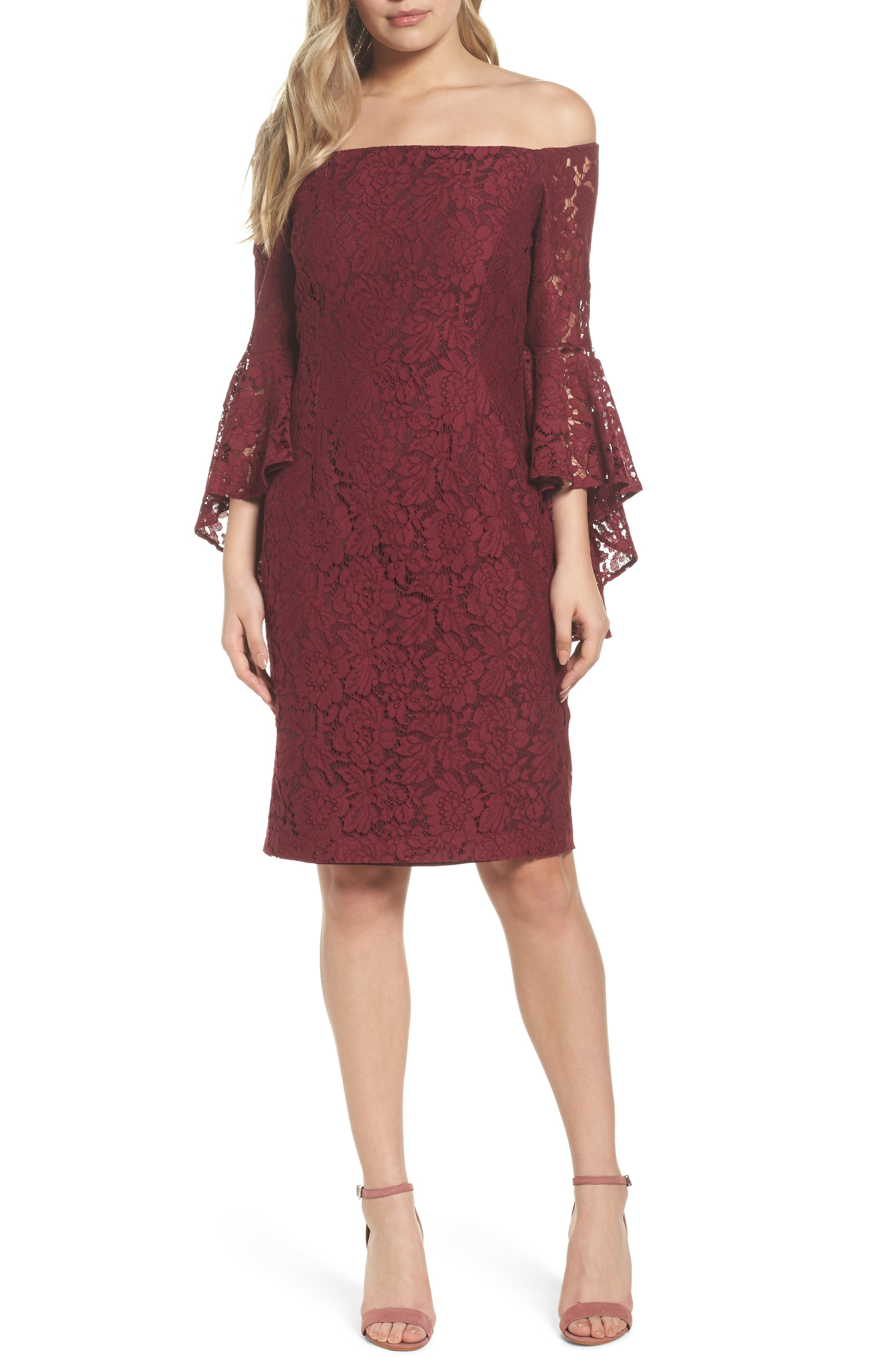 Off the Shoulder Lace Dress,                             Main thumbnail 1, color,                             Burgundy London