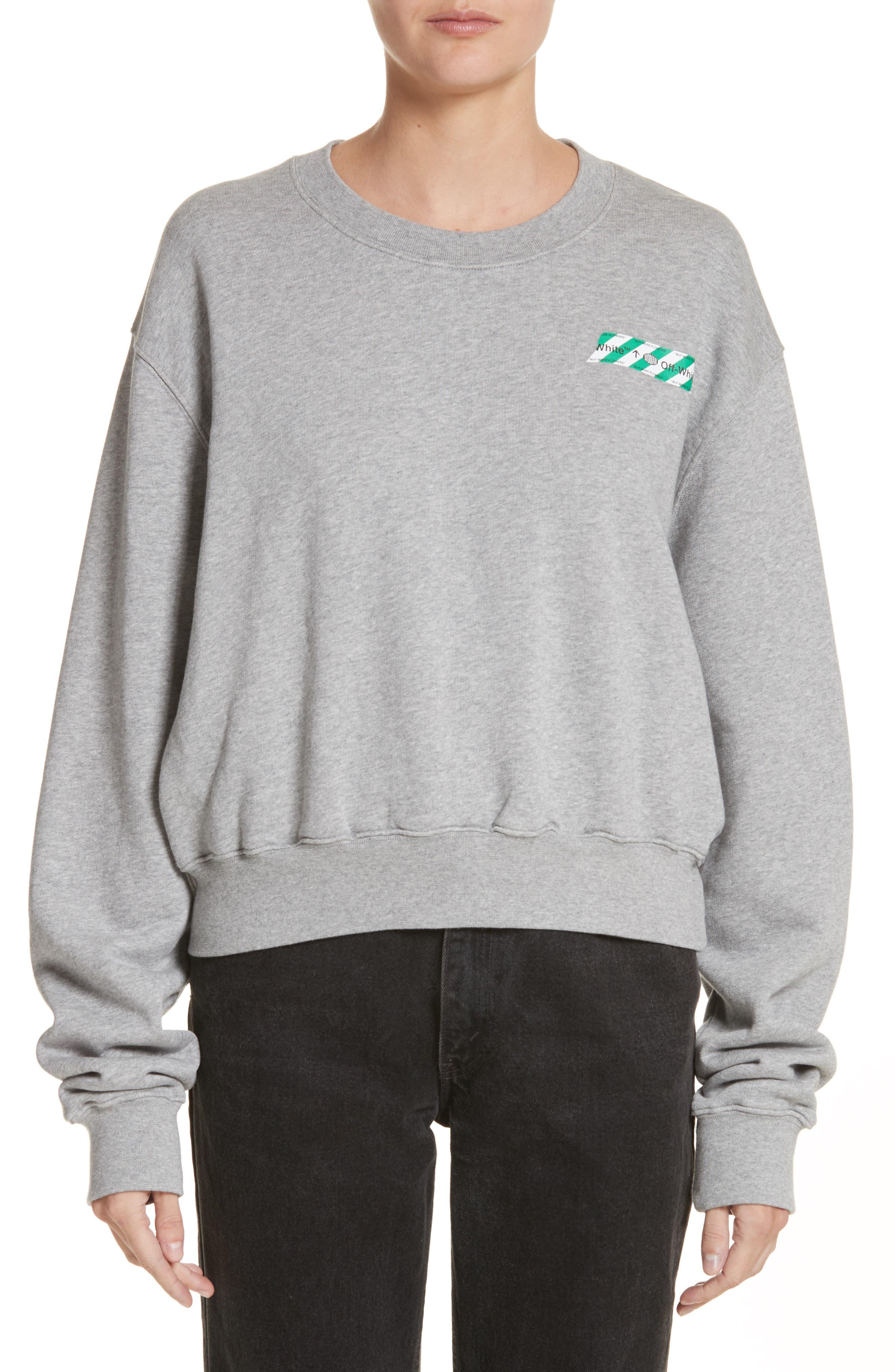 Woman Tape Crop Crewneck Sweater,                         Main,                         color, Melange Grey