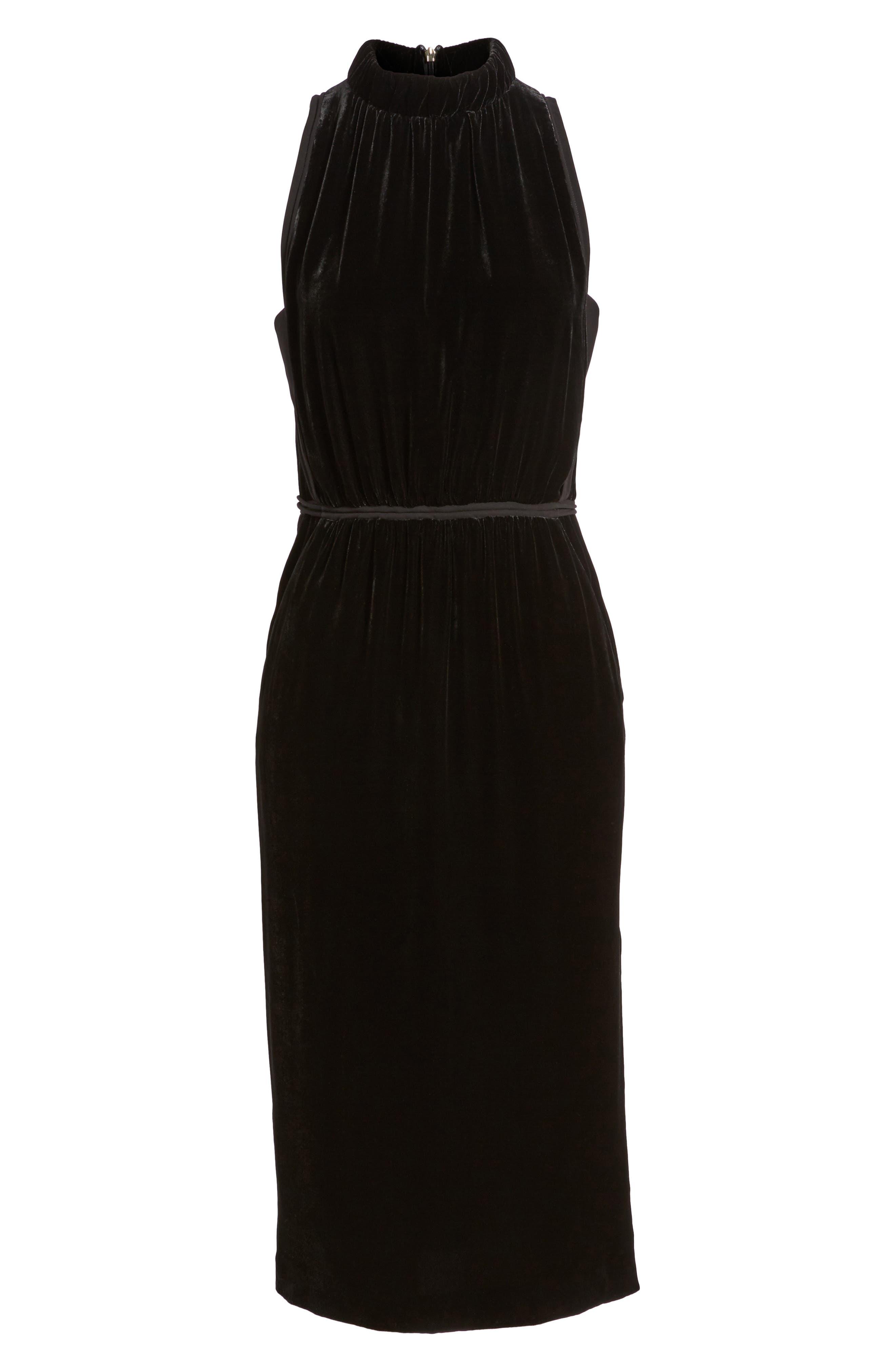 Difosia Velvet Midi Dress,                             Alternate thumbnail 6, color,                             Black